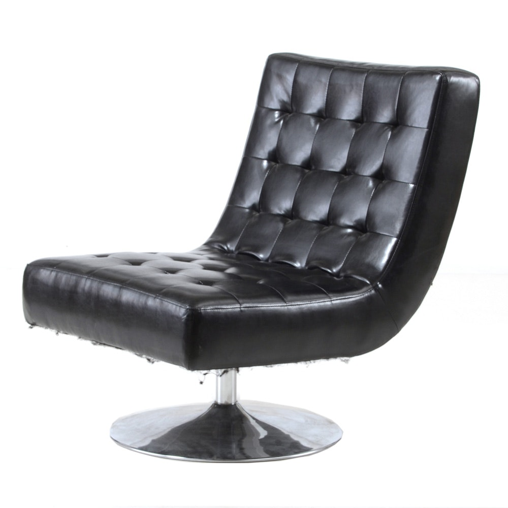 Modern Black Leather Swivel Lounge Chair by Landbond