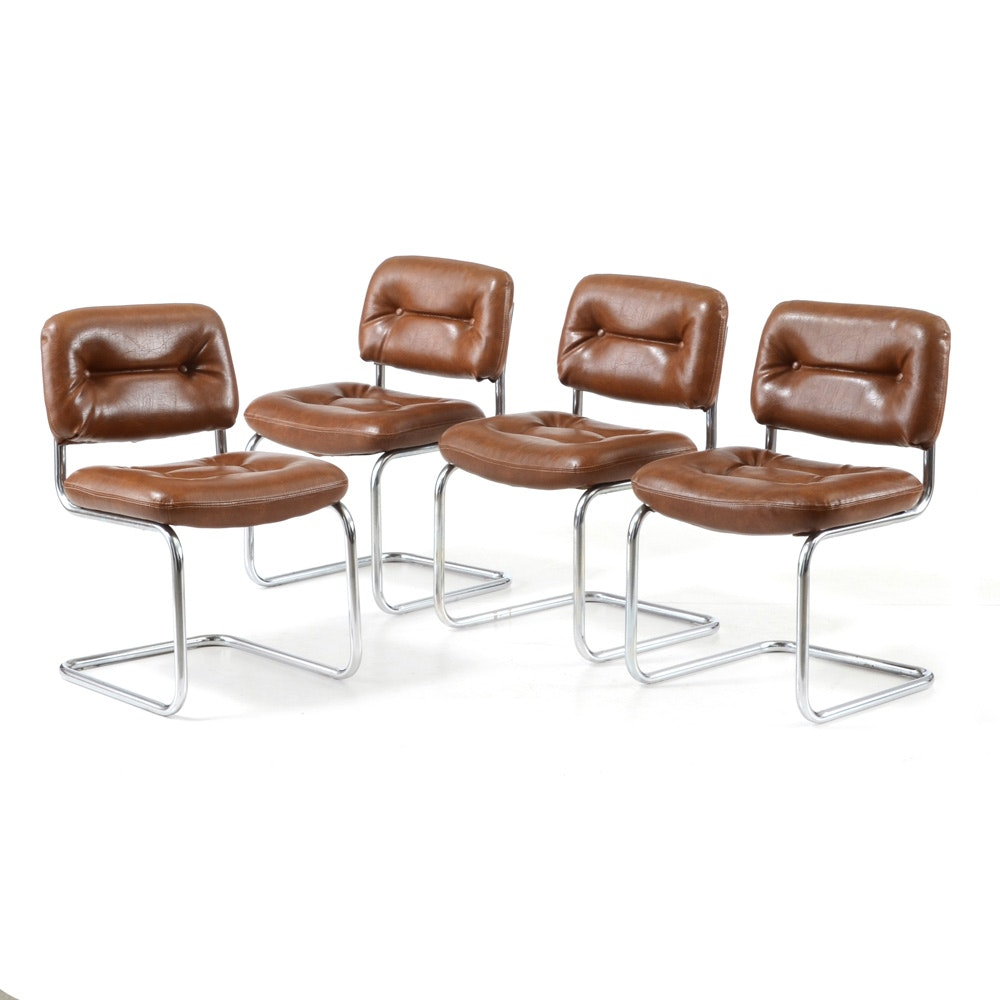 Set of Mid Century Modern Leather and Chrome Side Chairs by Chromcraft