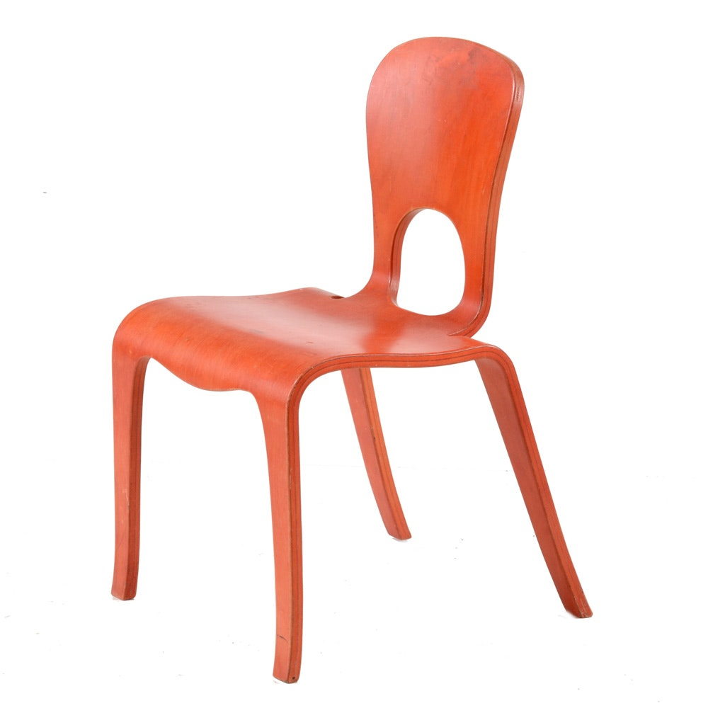 Mid Century Modern Style Orange Child's Chair