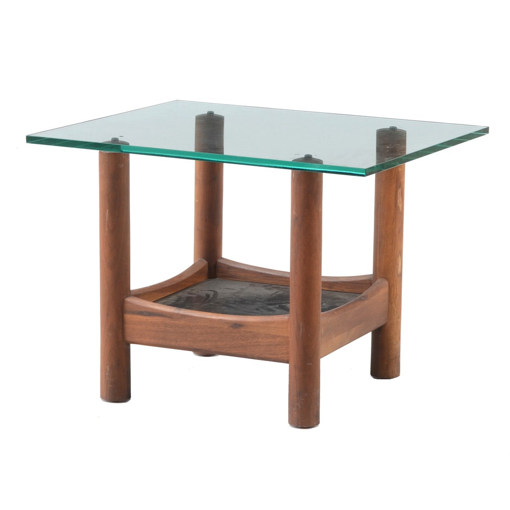 Mid Century Modern Glass Top End Table