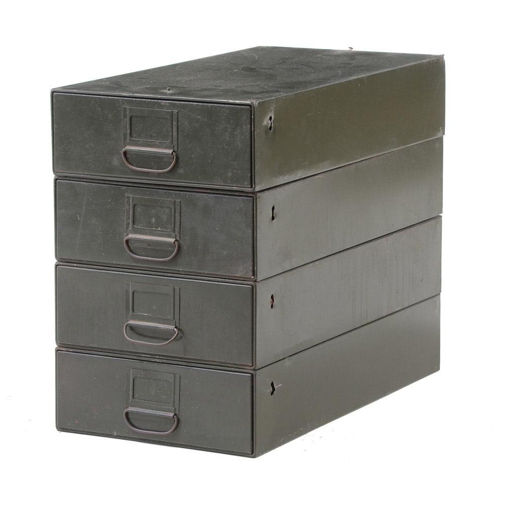 Vintage Stacking Green Metal Filing Cabinets