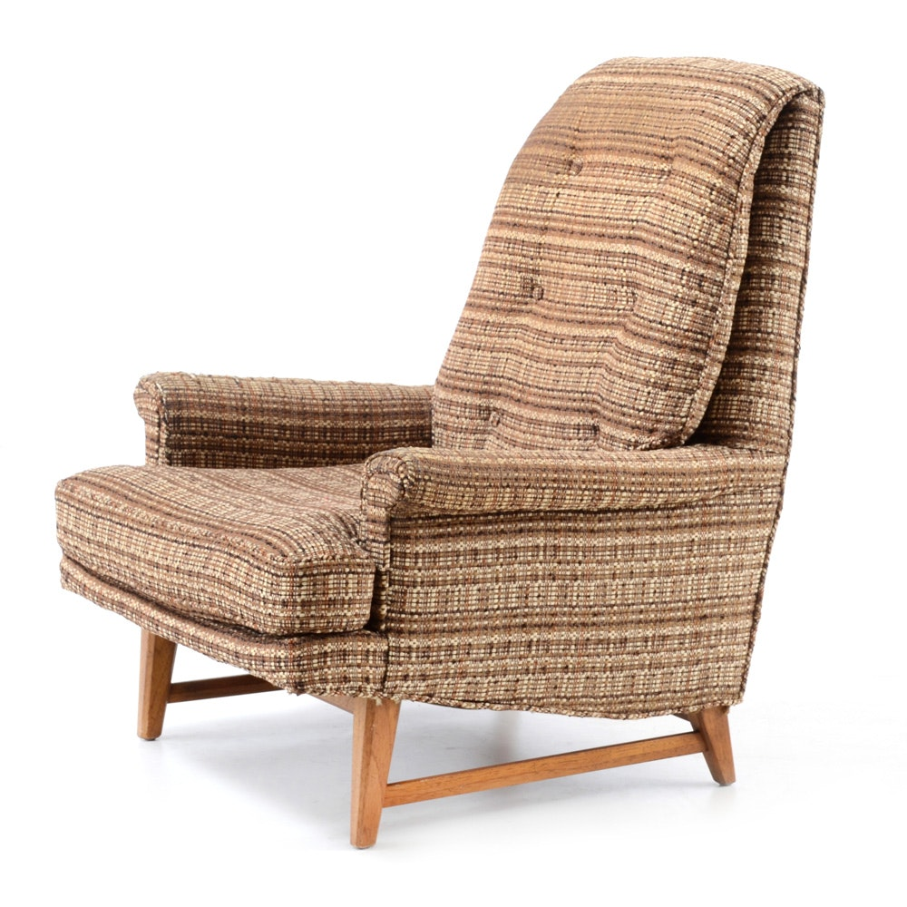 Vintage Mid Century Modern Upholstered Lounge Chair