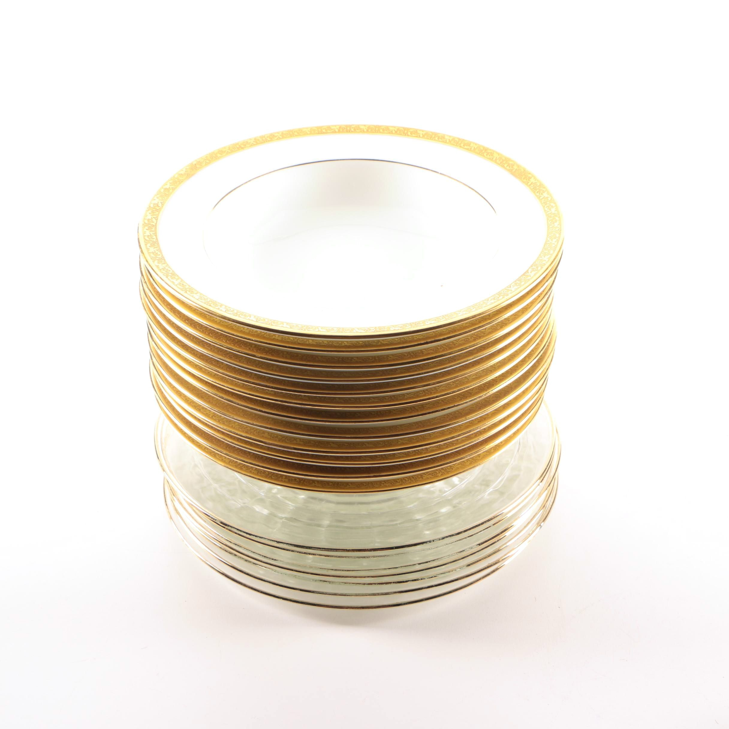 Gold Accented Porcelain Bowls and Glass Plates