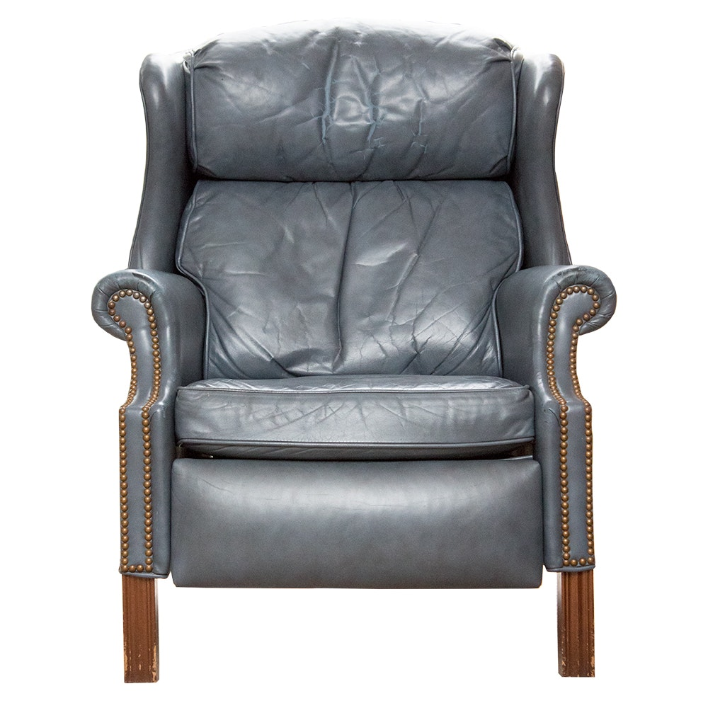 Bradington Young Blue Leather Recliner
