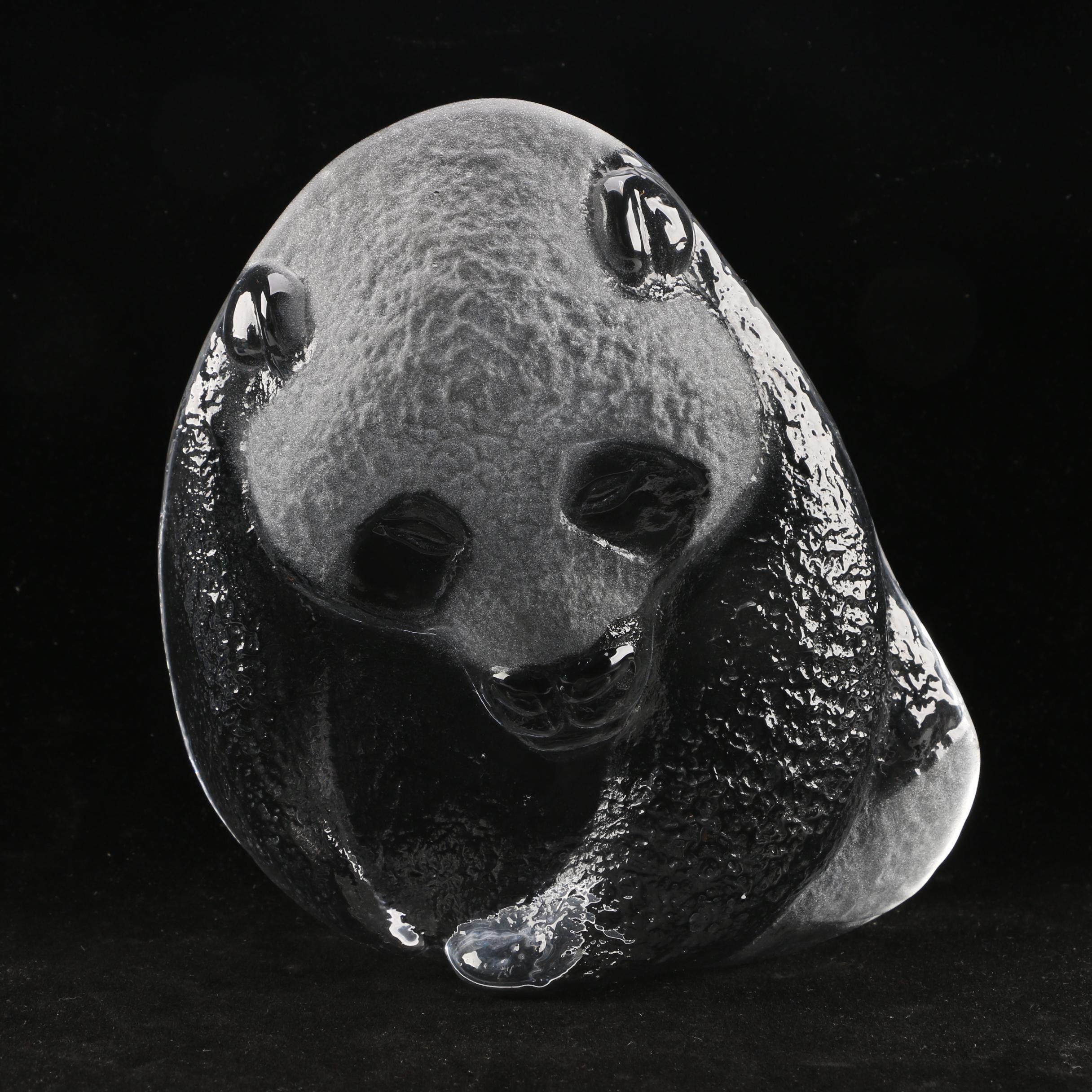Mats Jonasson Crystal Panda Bear Sculpture