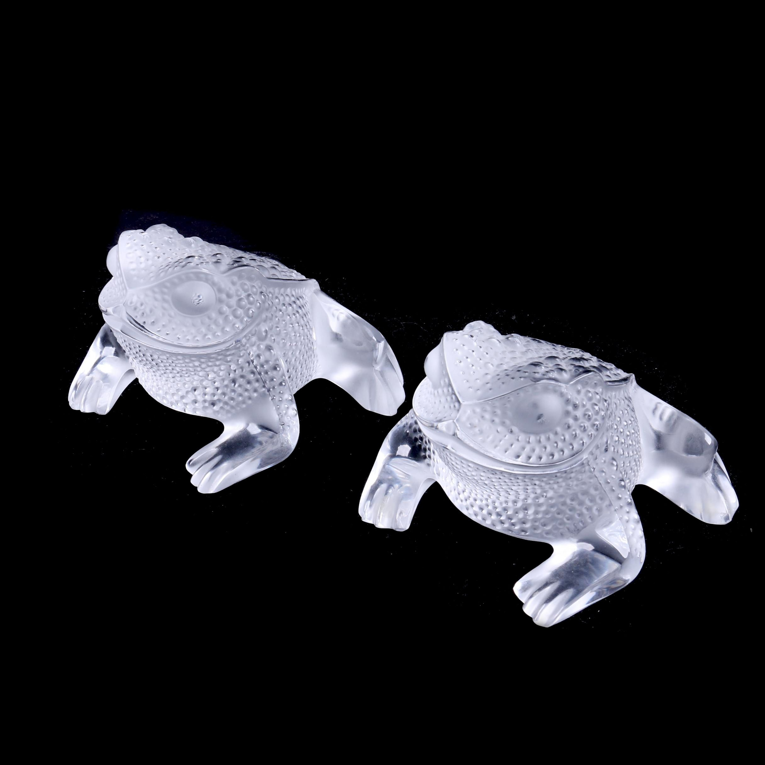 Lalique Crystal Frog Figurines