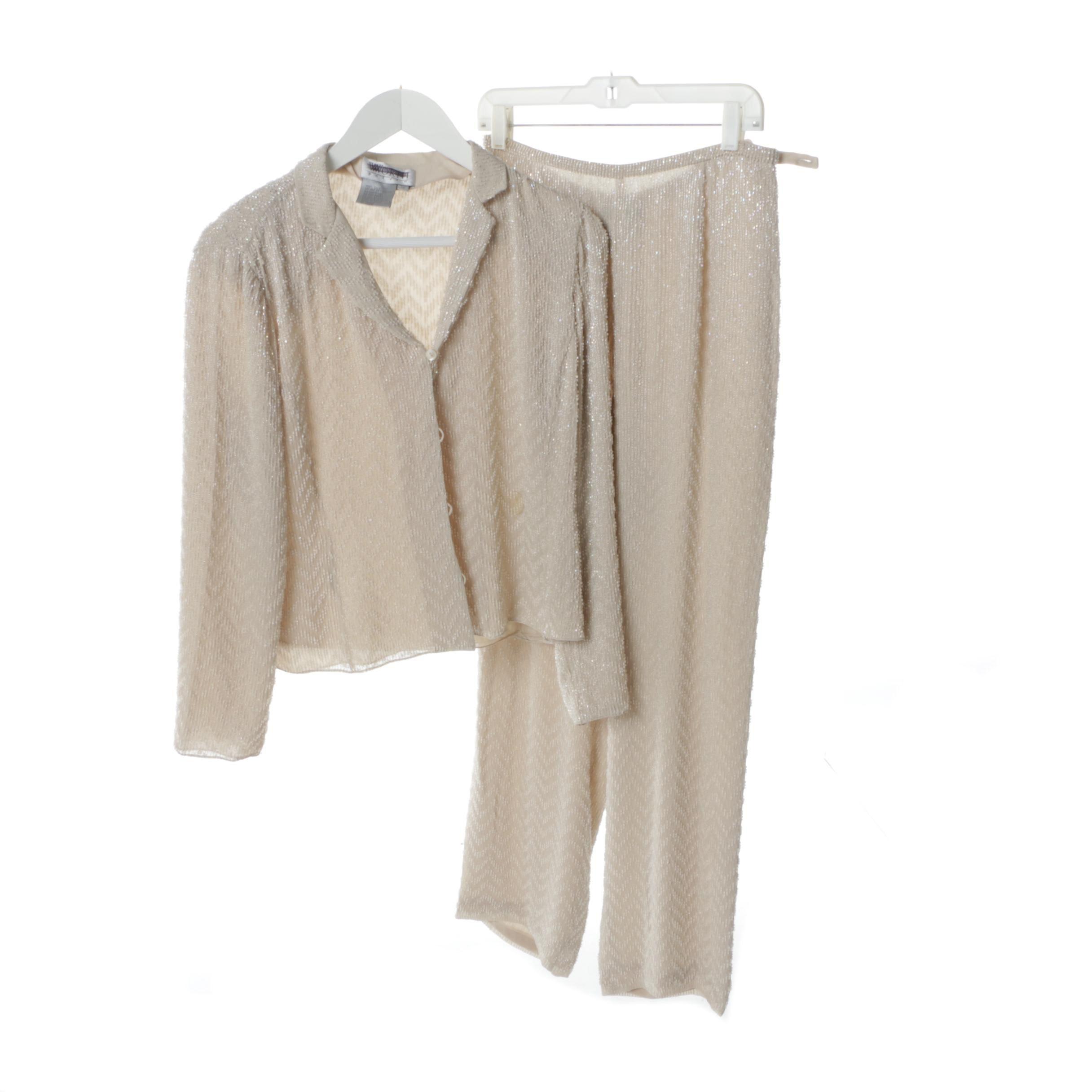 Worth Petite Beaded Silk Pantsuit