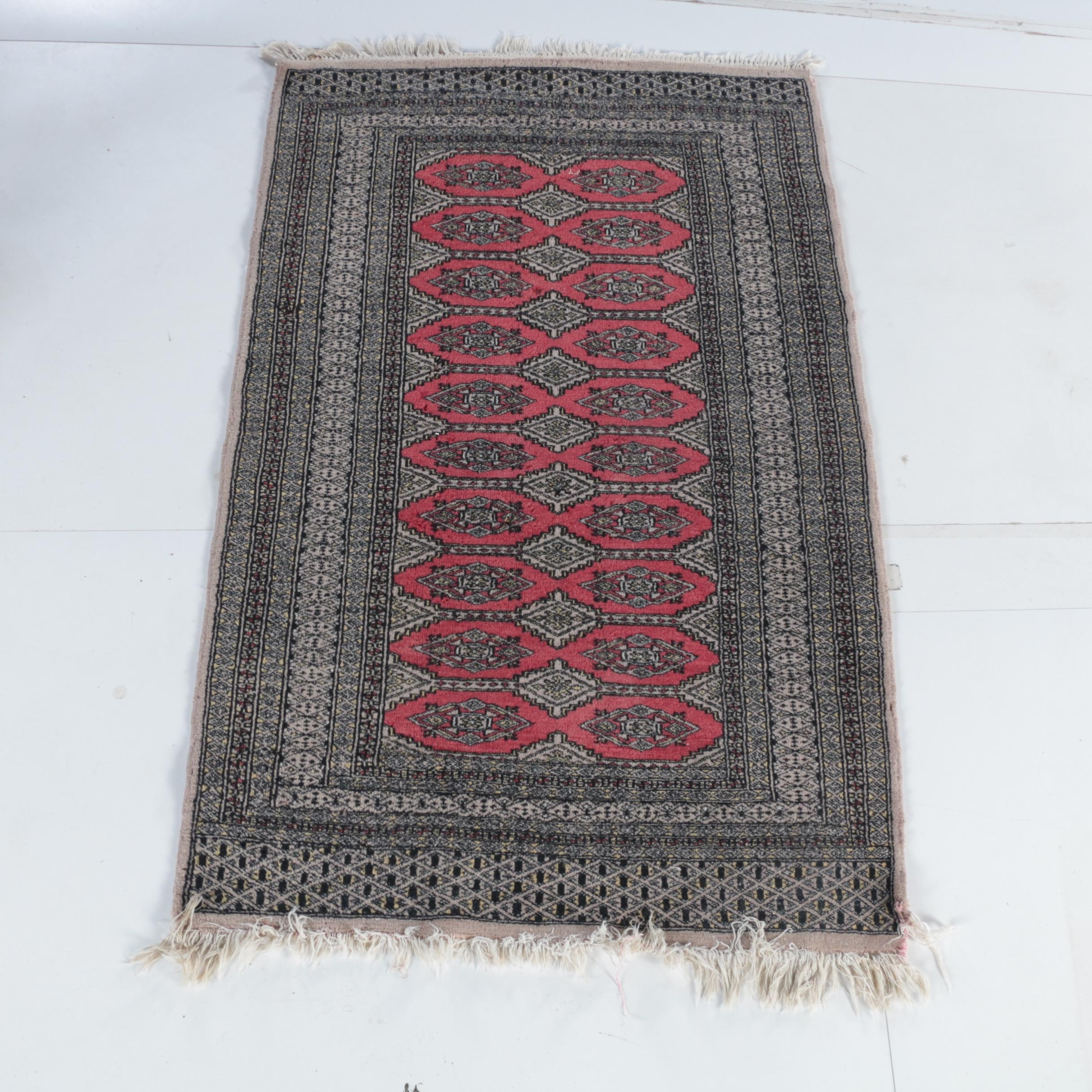 Hand-Knotted Bokhara Jaldar Wool Accent Rug