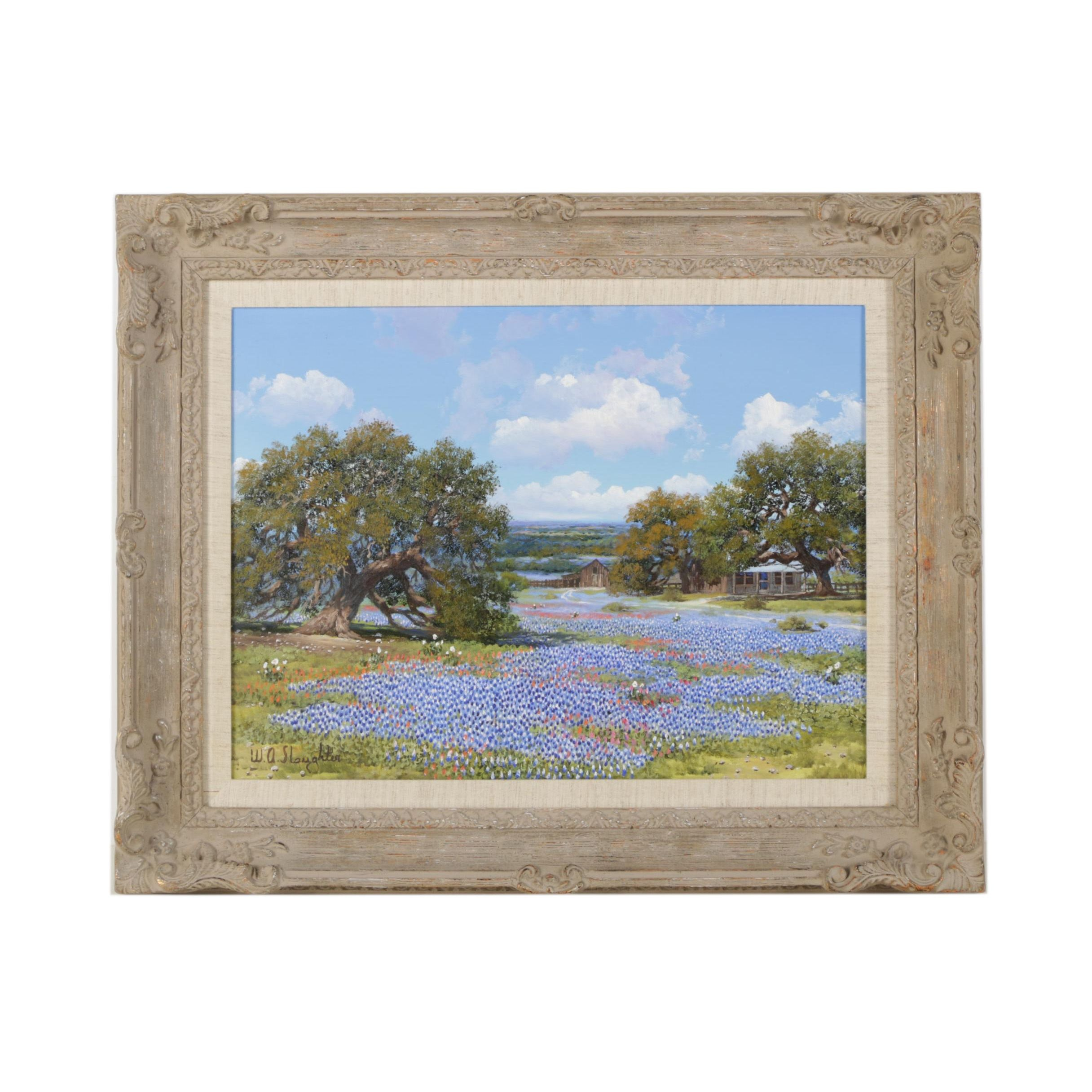 William A. Slaughter Oil on Canvas Painting of Landscape with Bluebonnets