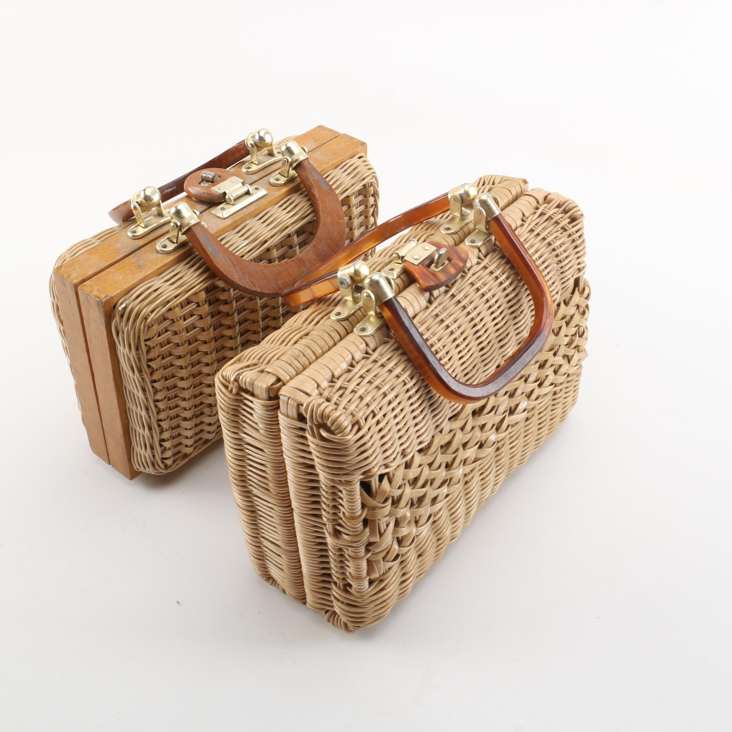 Vintage Woven Faux Wicker Handbags