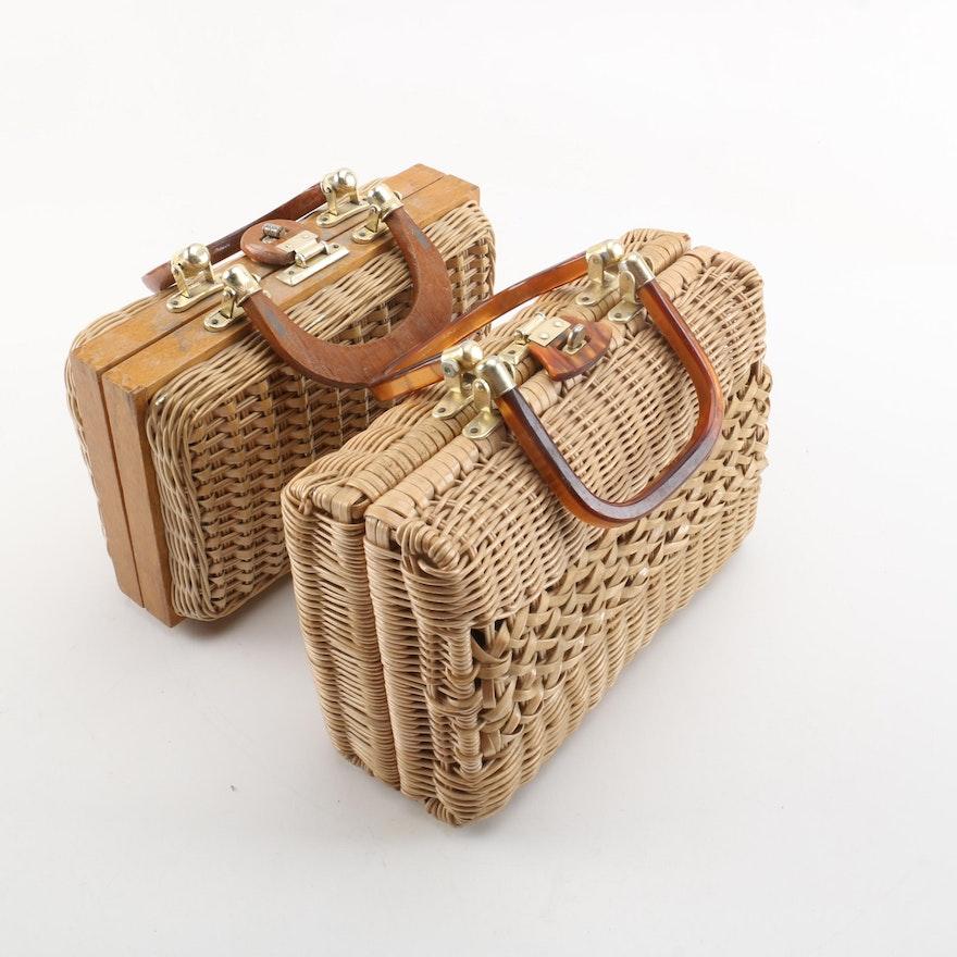 Vintage Woven Faux Wicker Handbags