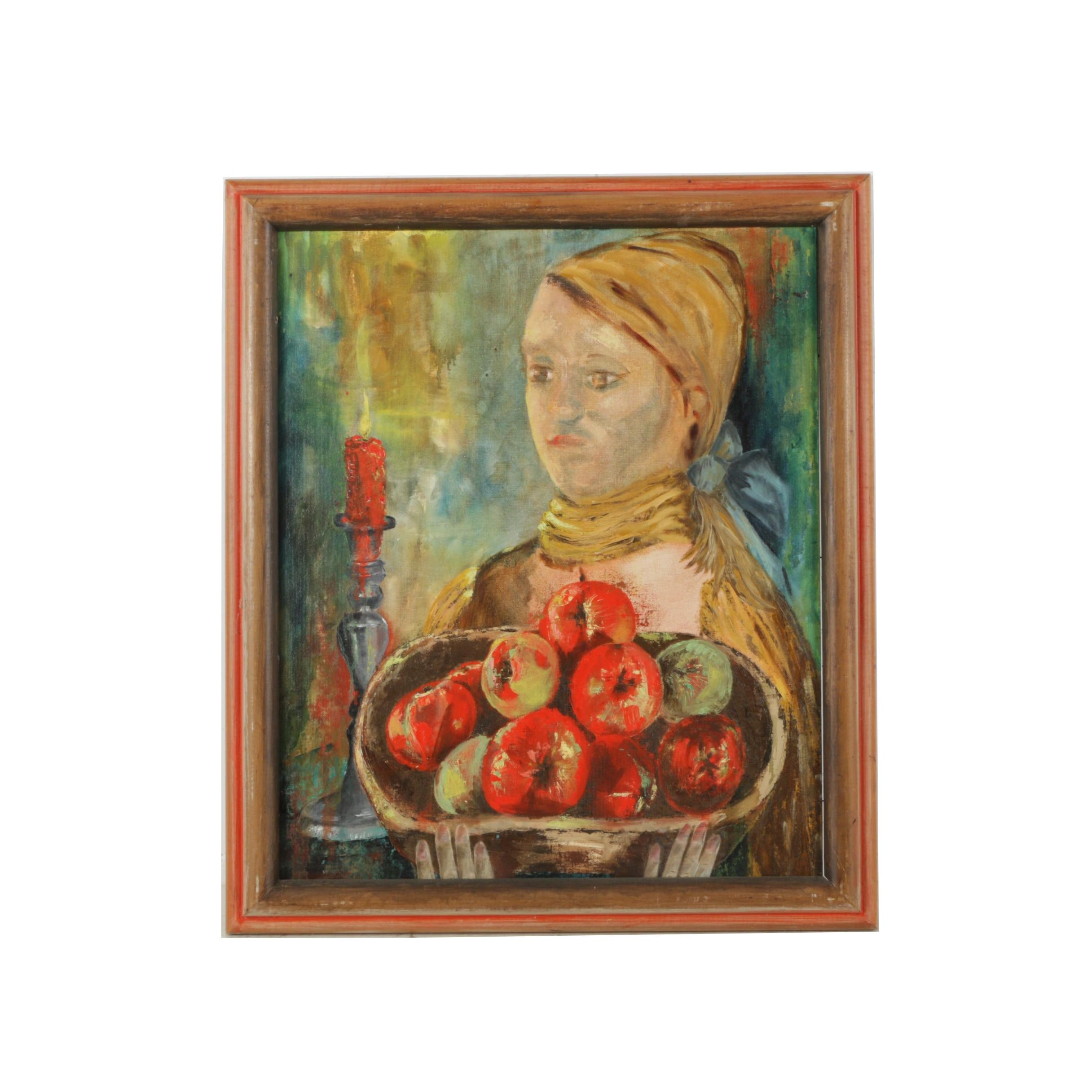 """Freda Frank Oil Painting """"Girl with Apples"""""""