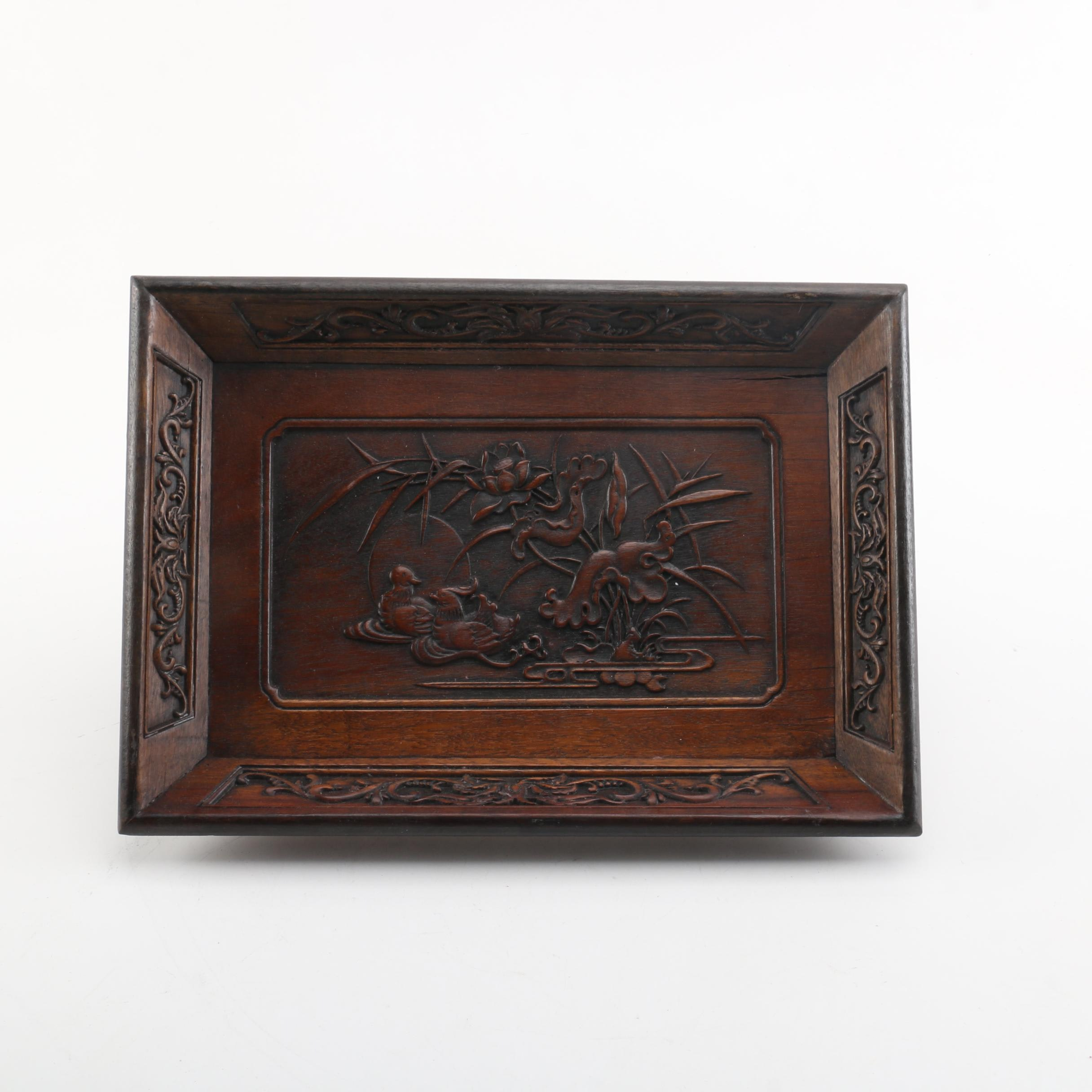 Chinese Carved Wooden Tray