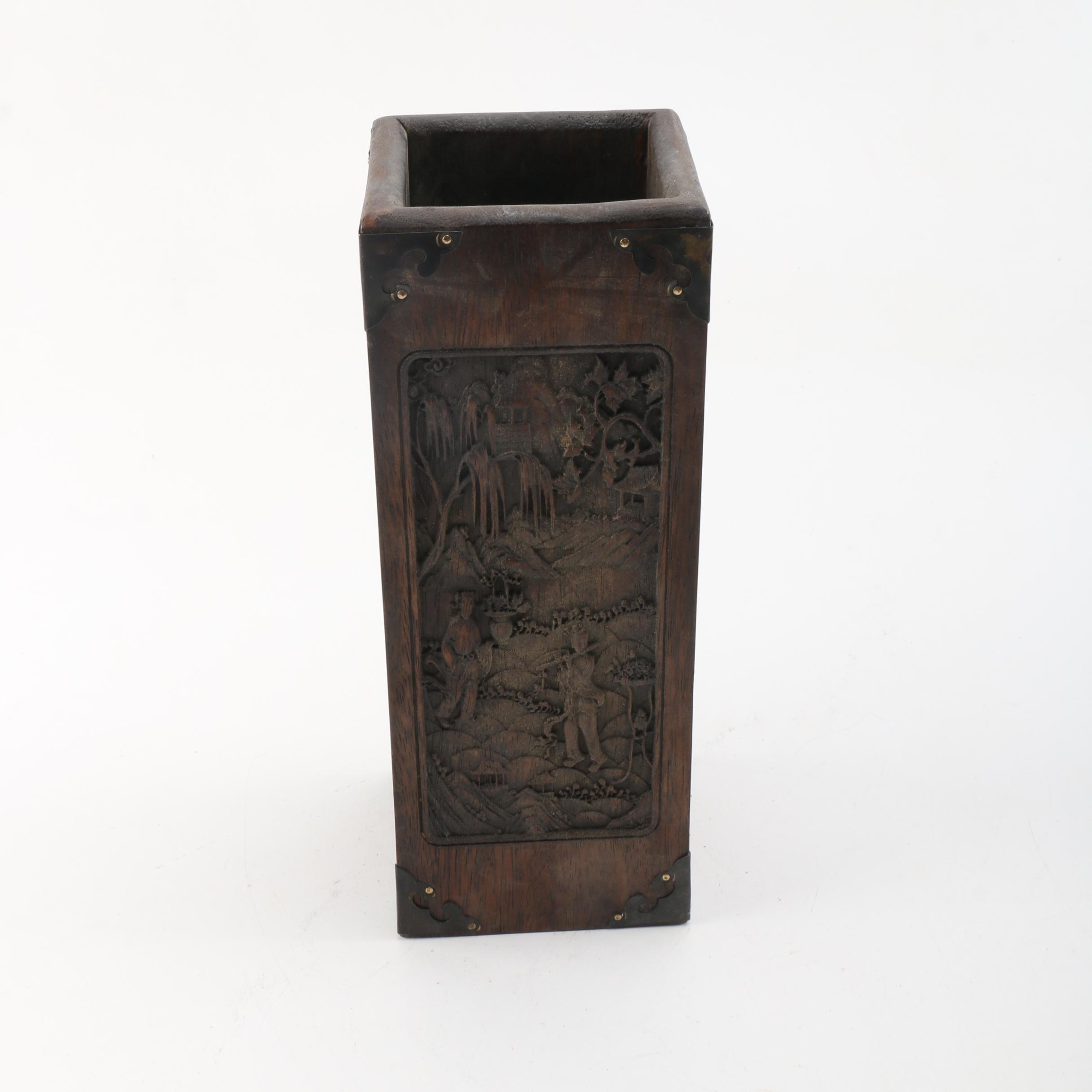 Chinese Carved Wood Box Vase