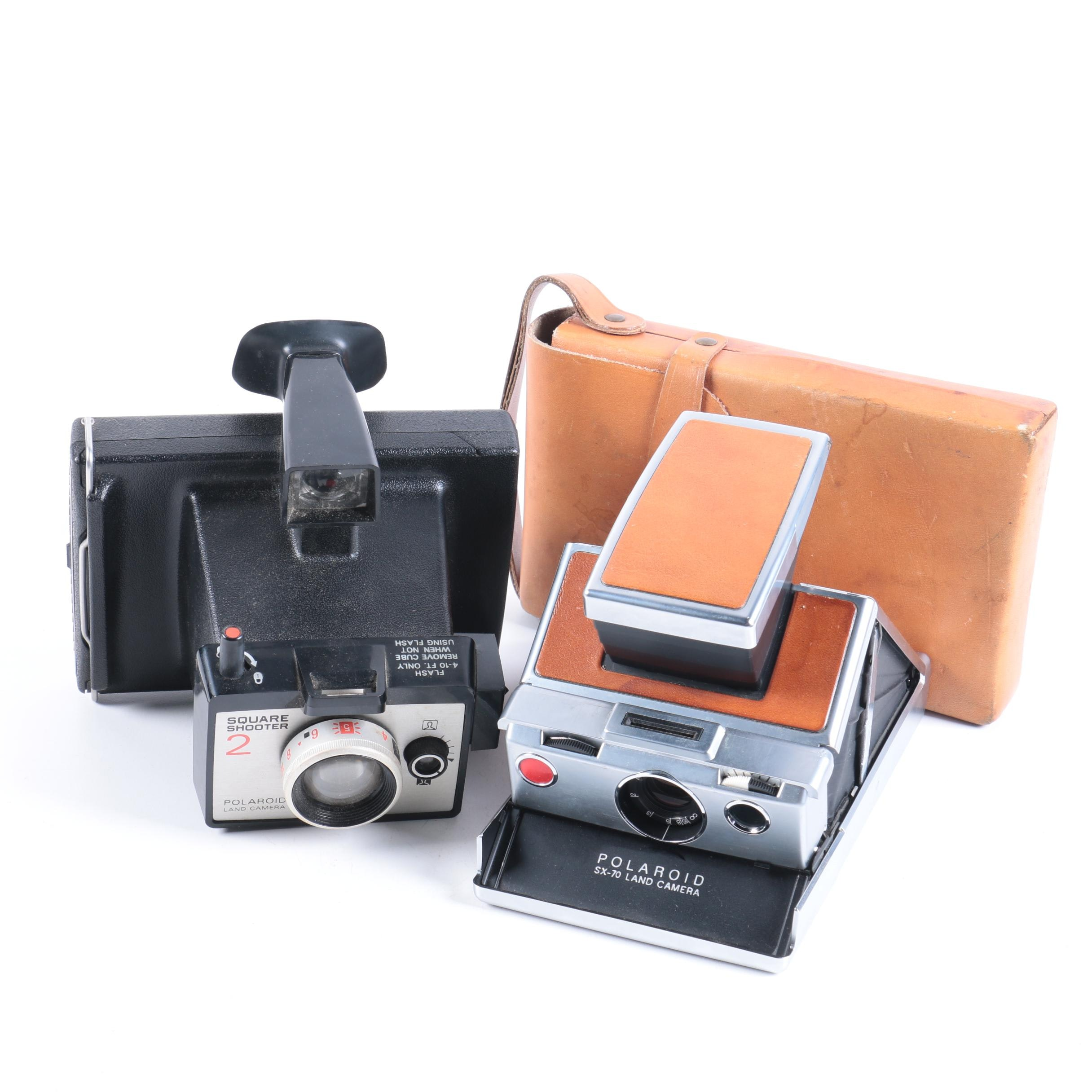 Polaroid Square Shooter 2 and SX-70 Land Cameras