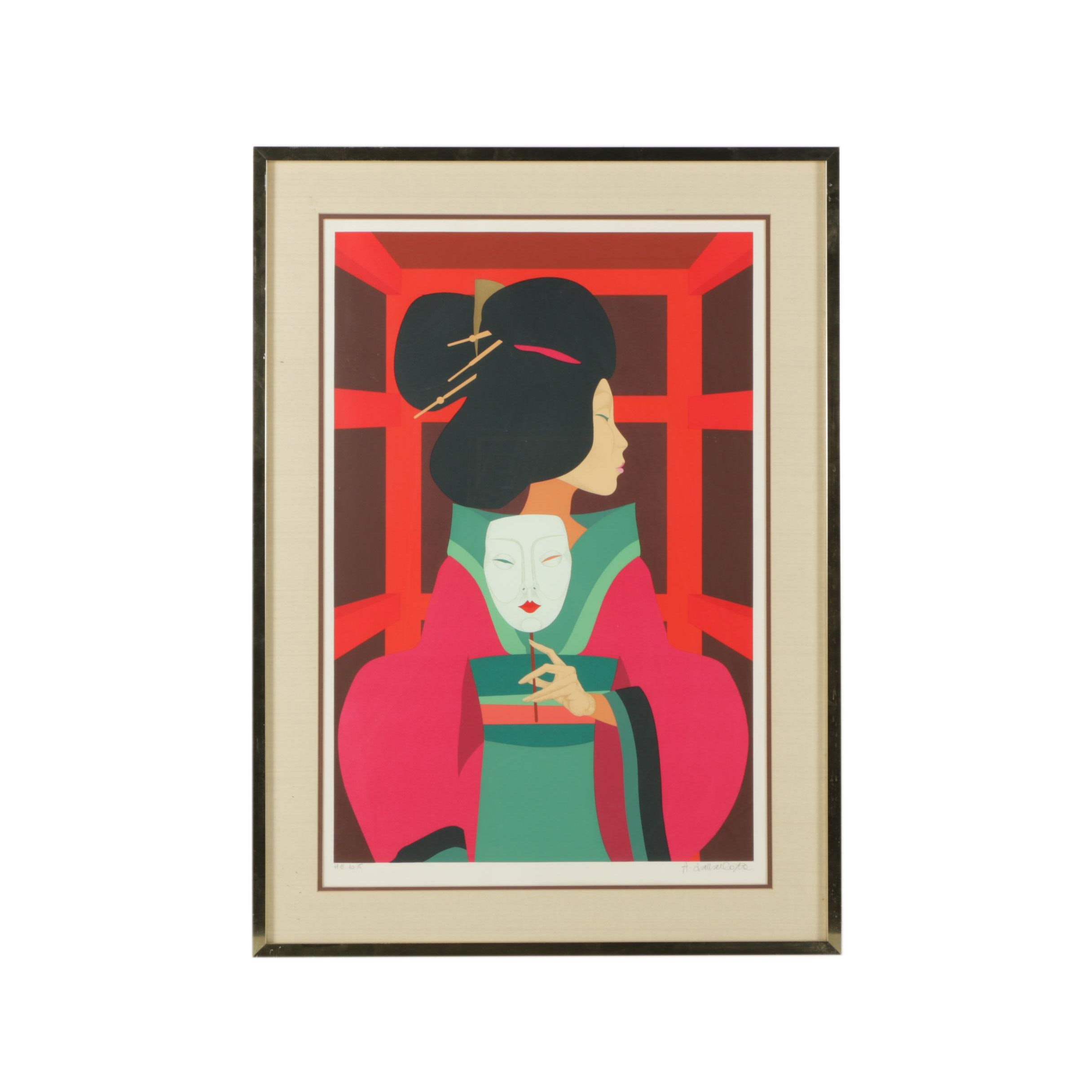 Amleto Dalla Costa Serigraph Print of a Japanese Woman