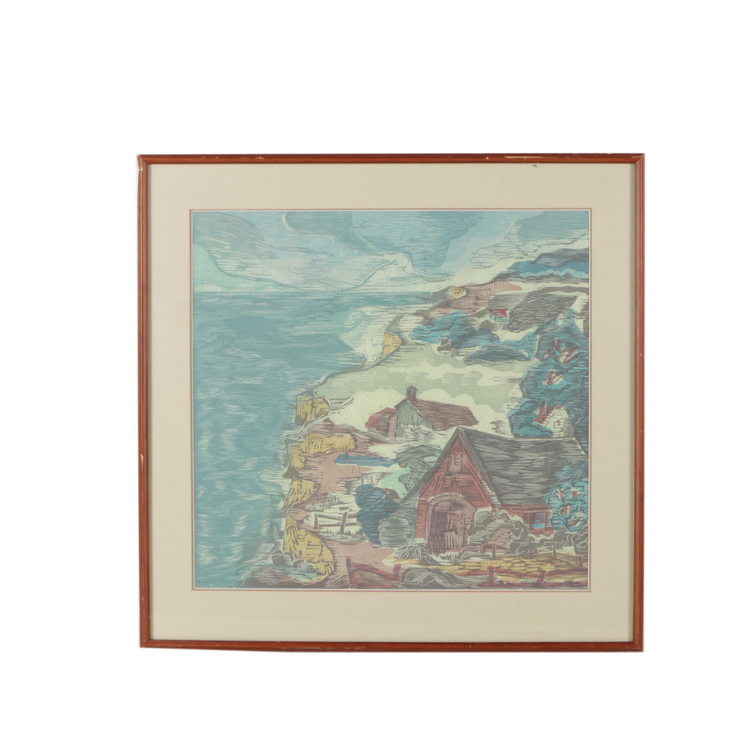 Bernard Kroeber 1982 Relief Print of Seaside Landscape