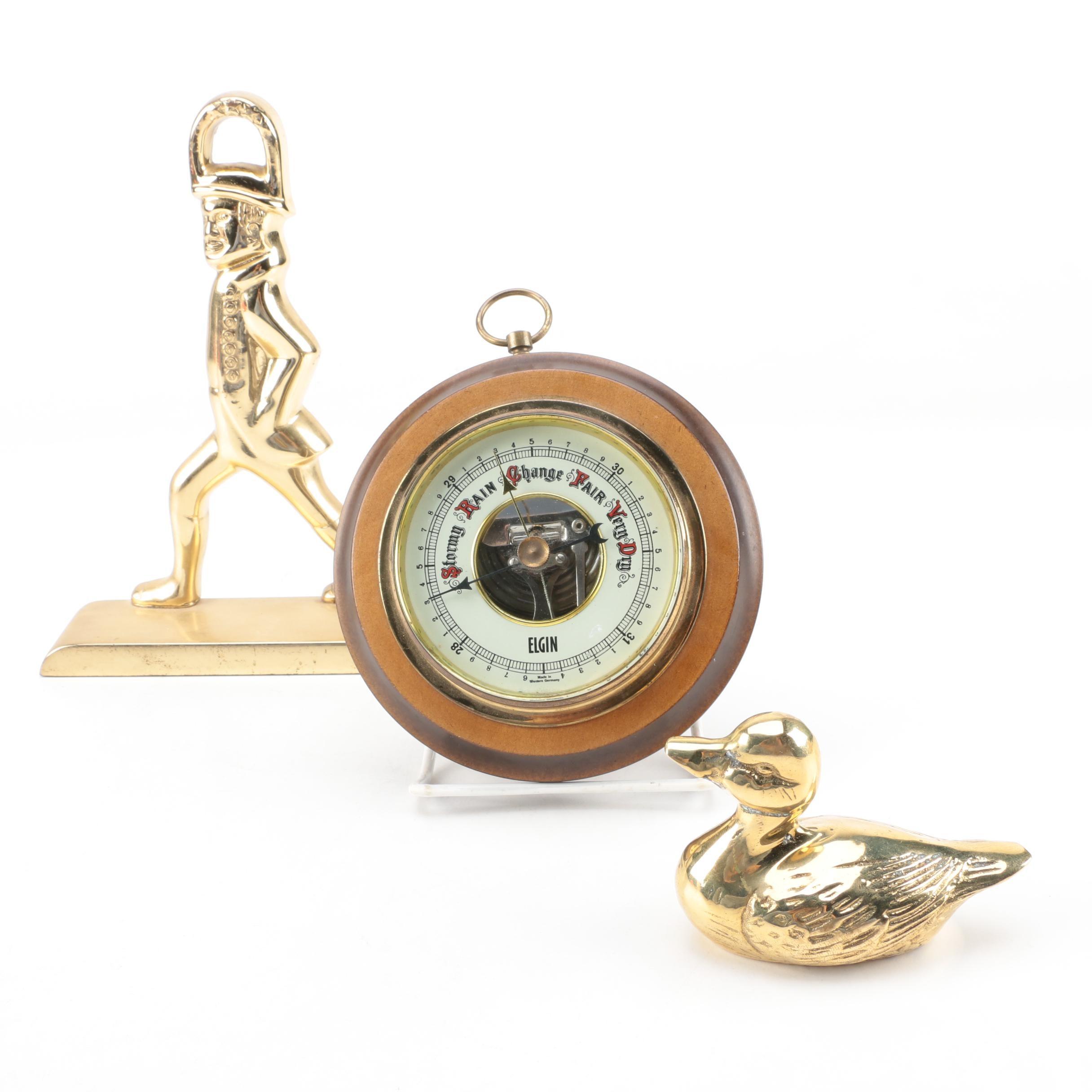 Vintage Doorstop, Barometer and Duck Figurine