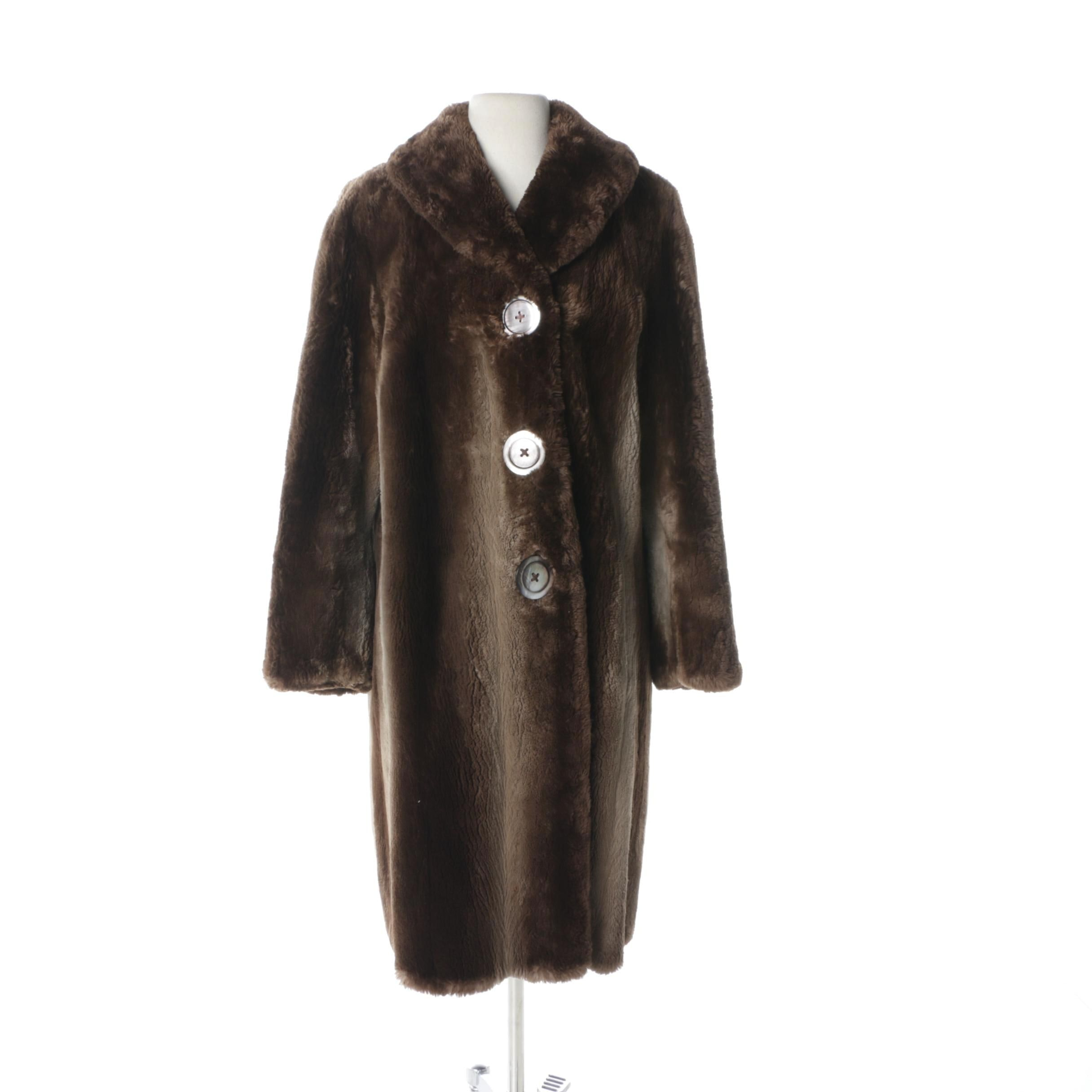 Yudofsky Furriers Sheared Beaver Coat with Mother of Pearl Buttons