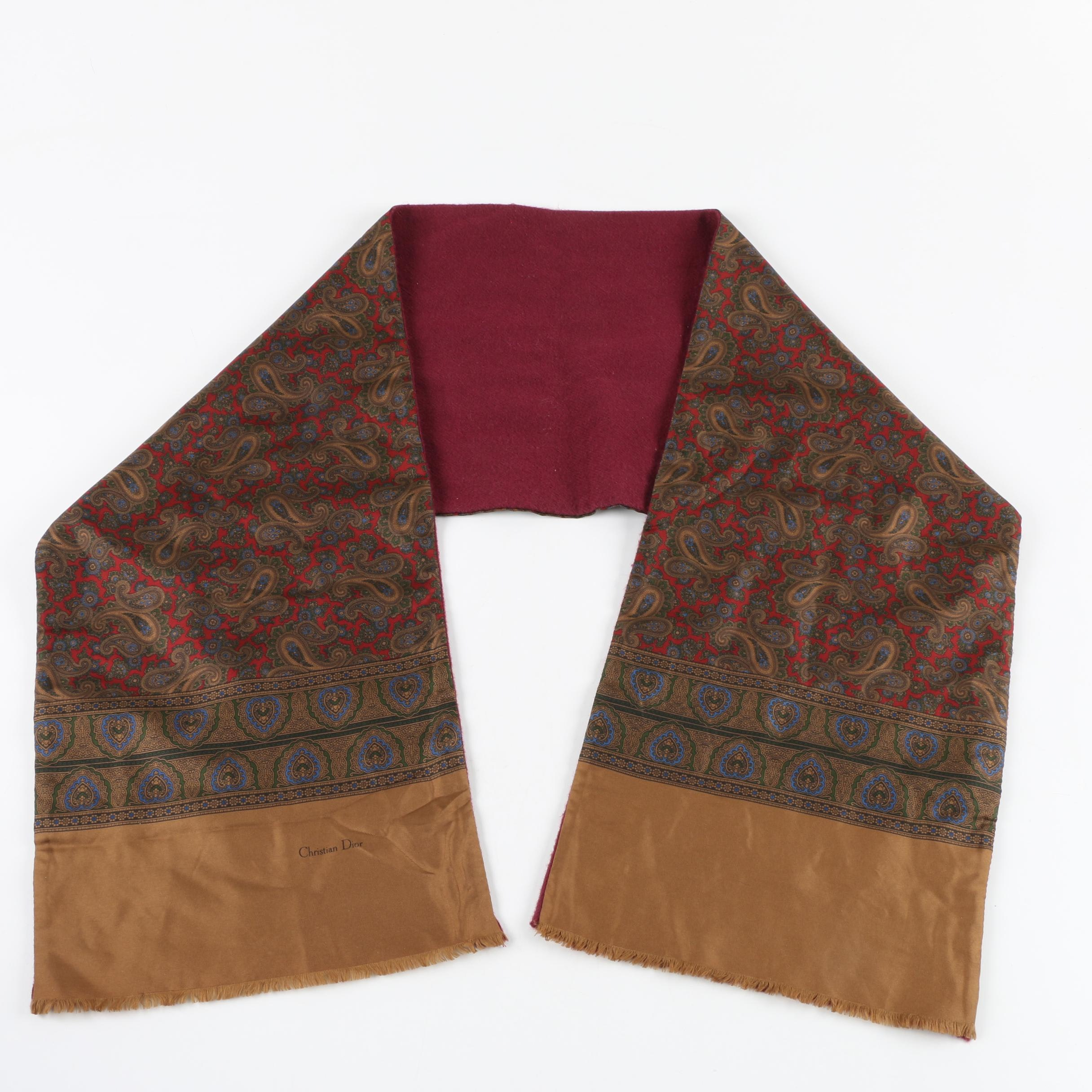 Men's 1970s Christian Dior Silk and Wool Scarf