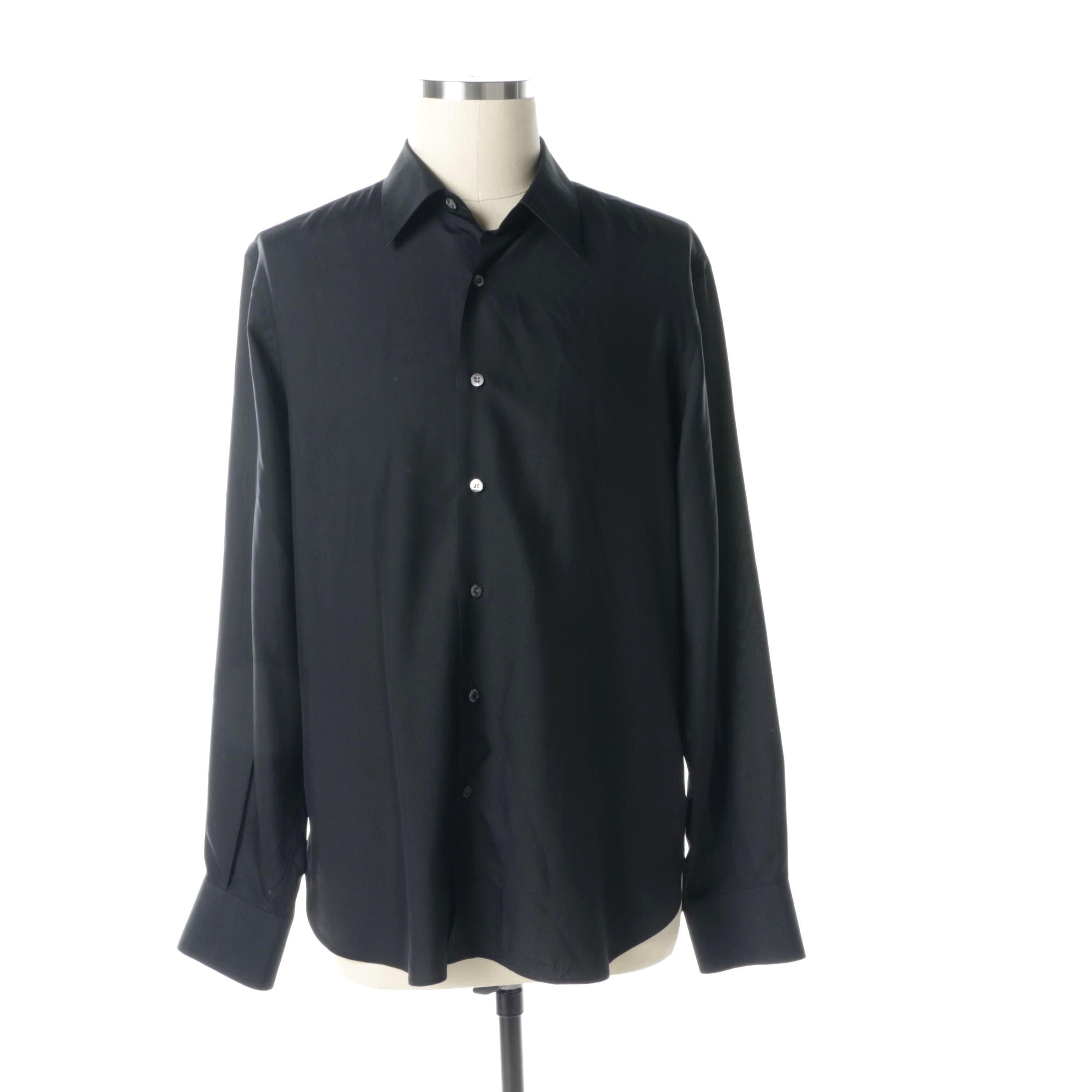 Men's Valentino Black Silk Blend Long Sleeve Button-Up Shirt