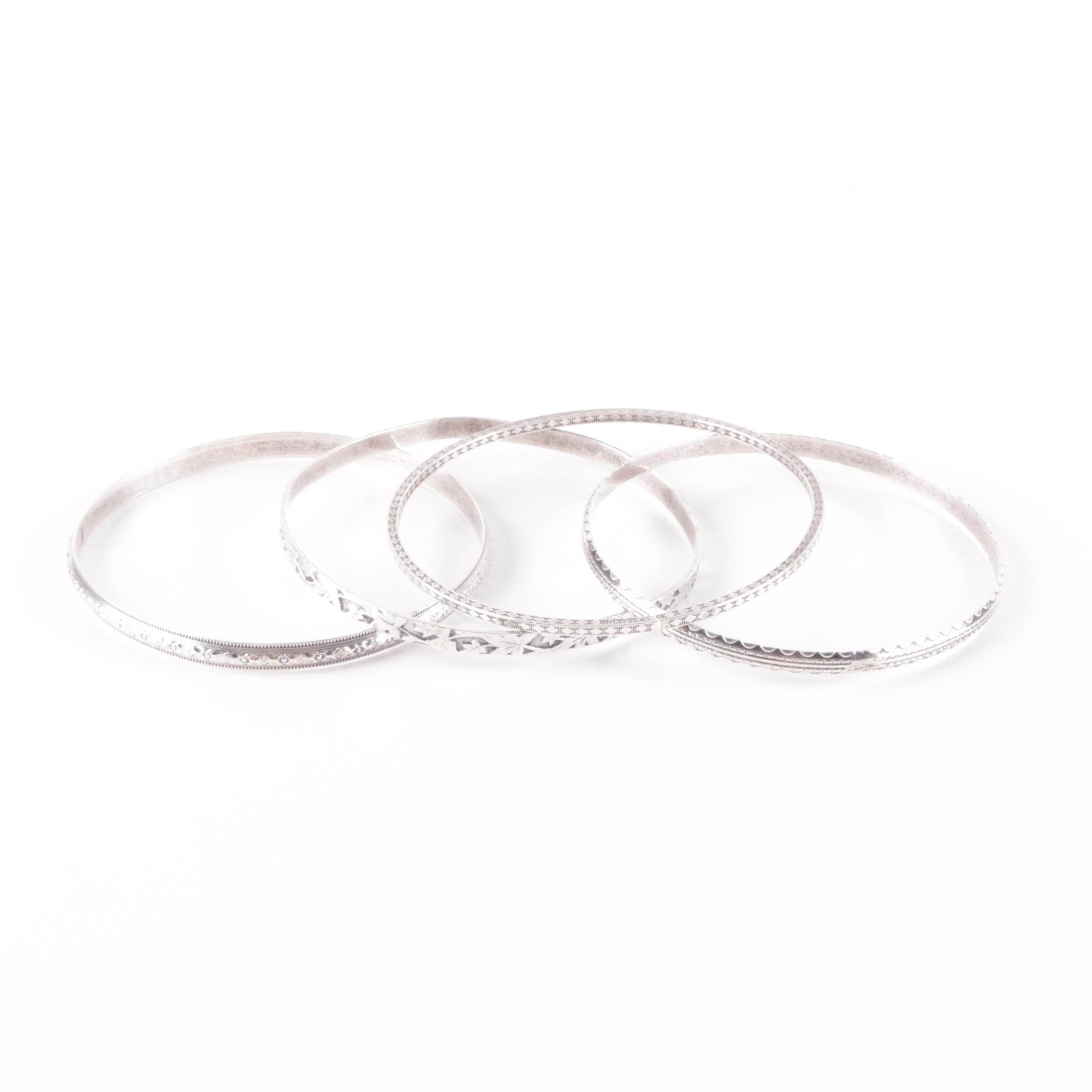 Four Sterling Silver Etched Bangle Bracelets
