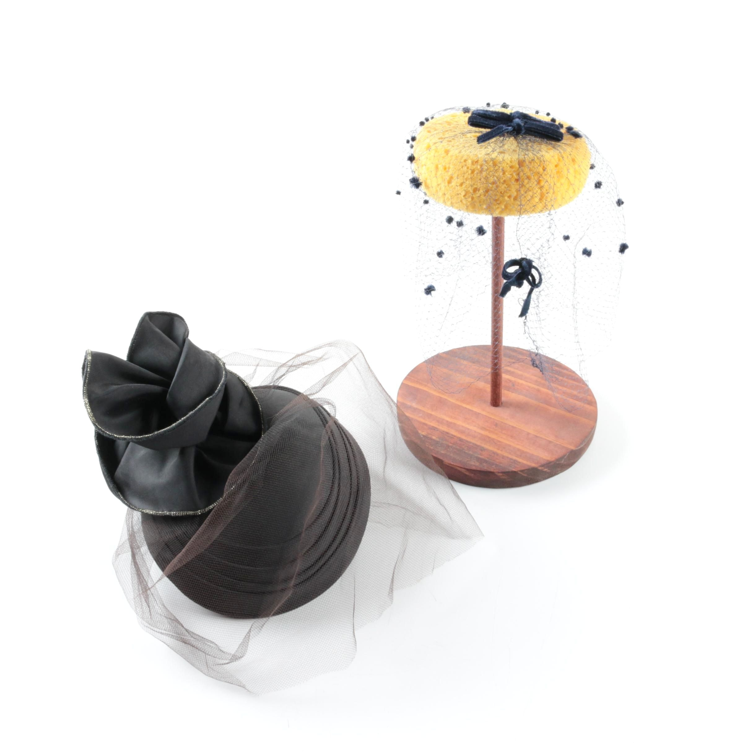 Fascinators with Mesh Veils and Hat Stand