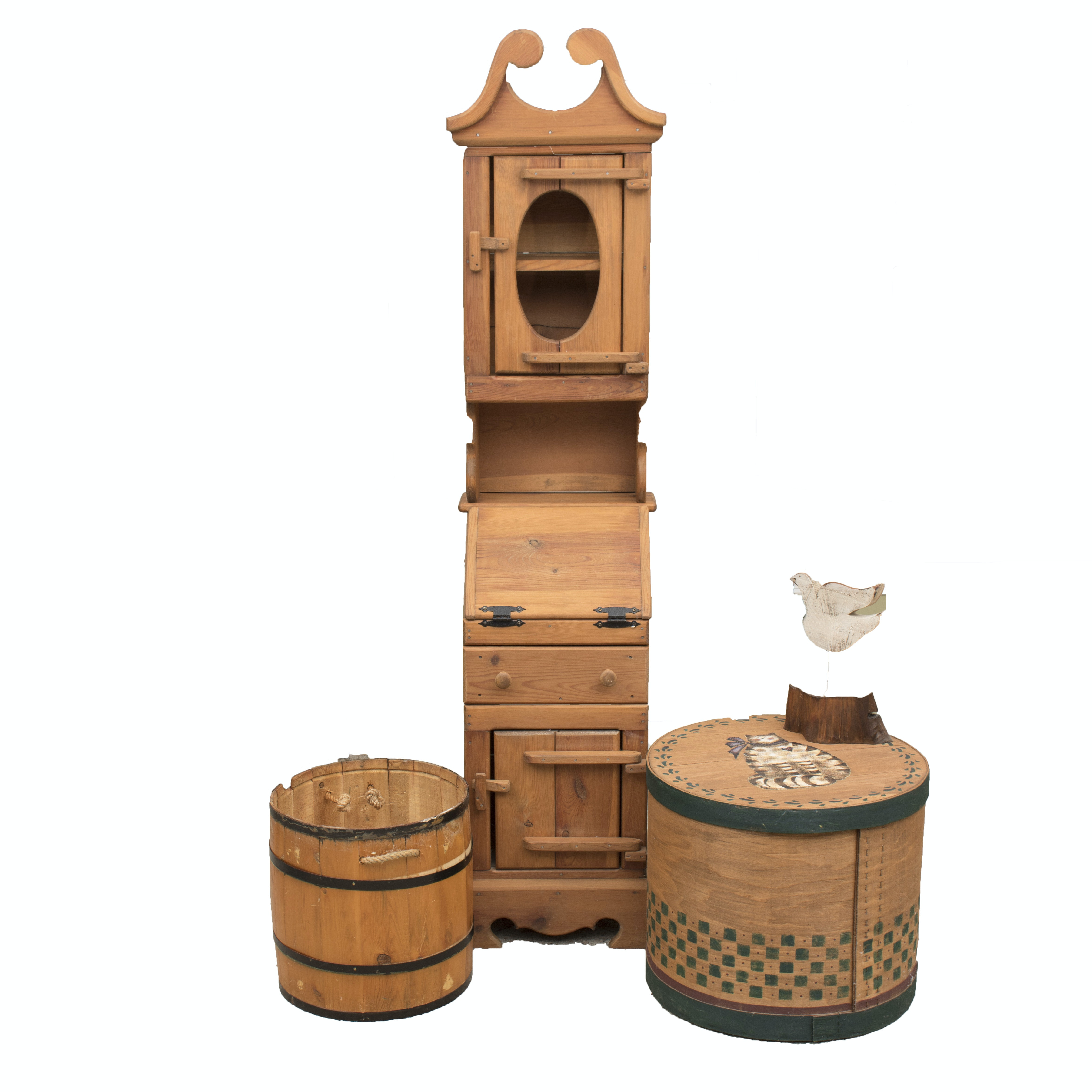 Country Style Cabinet, Barrel Containers and Decor
