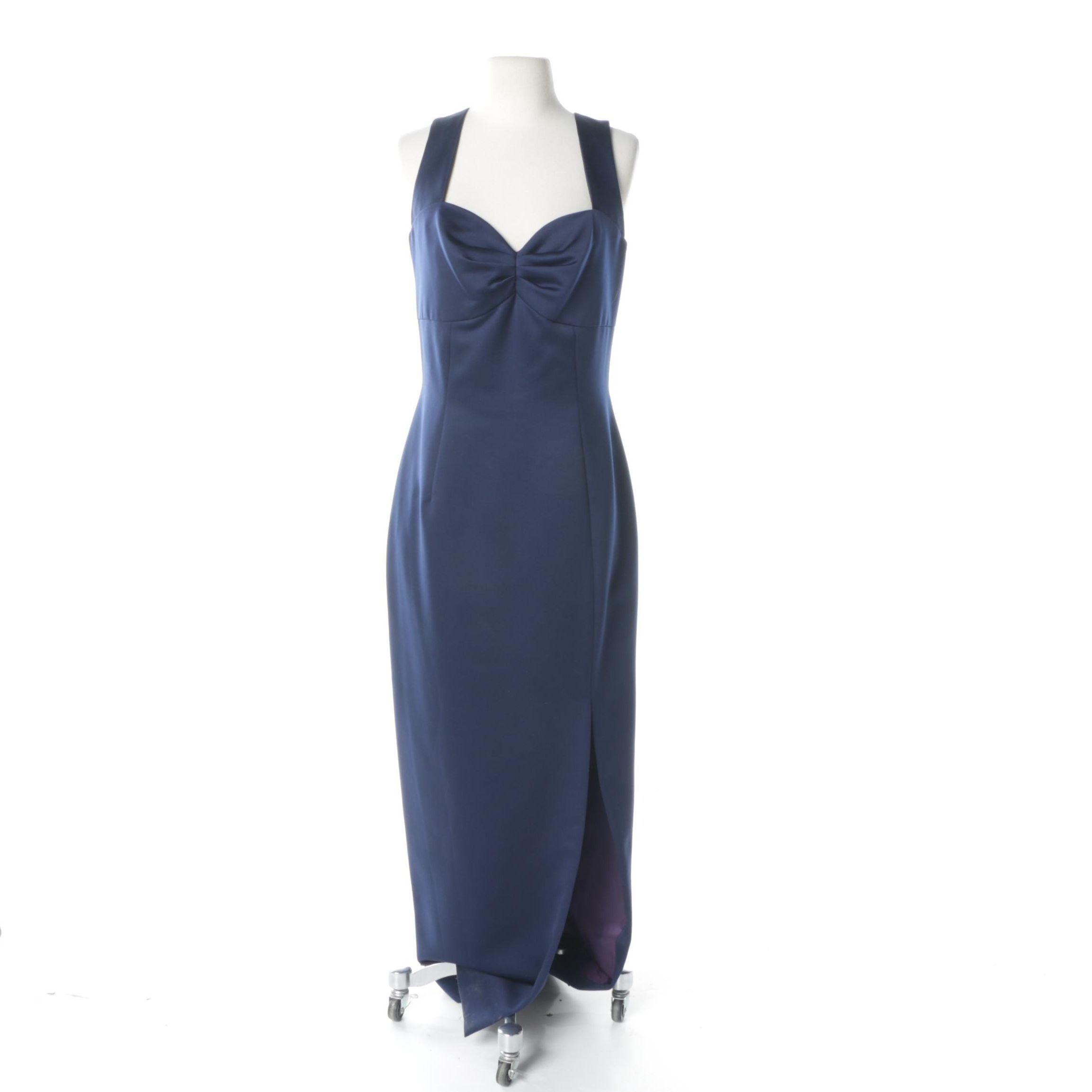 Morton Myles Navy Blue Satin Sleeveless Evening Dress