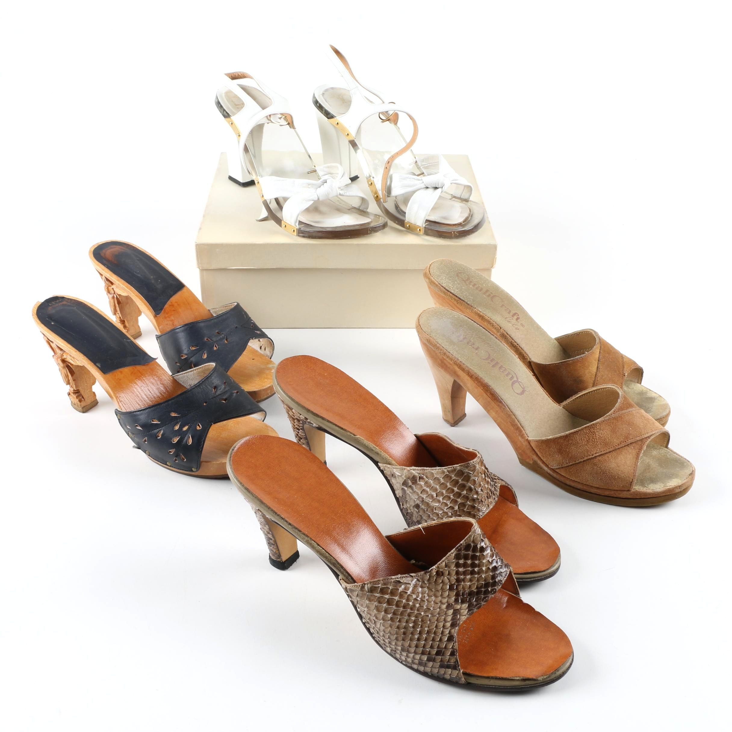 Women's Vintage Heeled Sandals Including Carved Heels and Python Skin