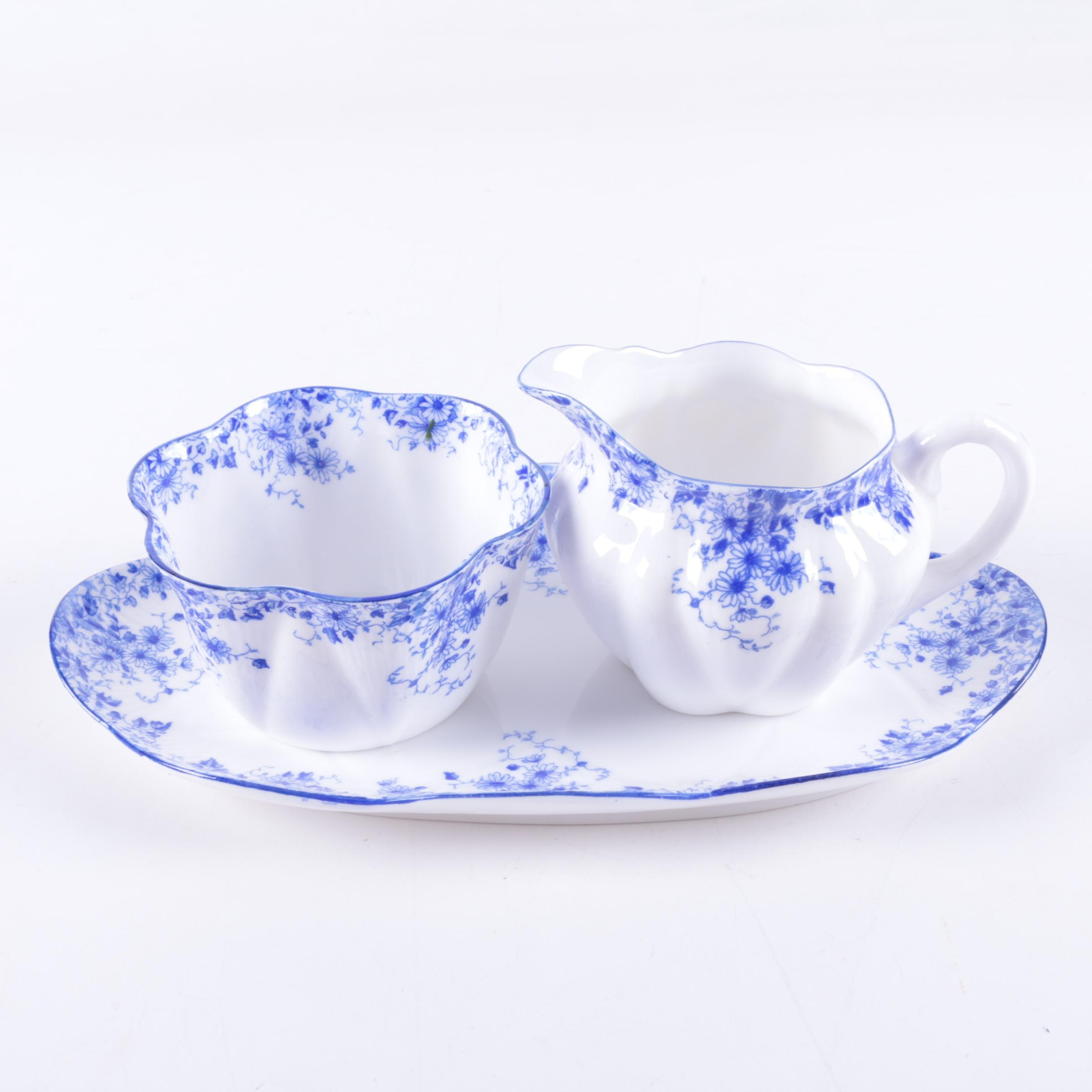"Shelley ""Dainty Blue"" Bone China Creamer and Sugar Set"