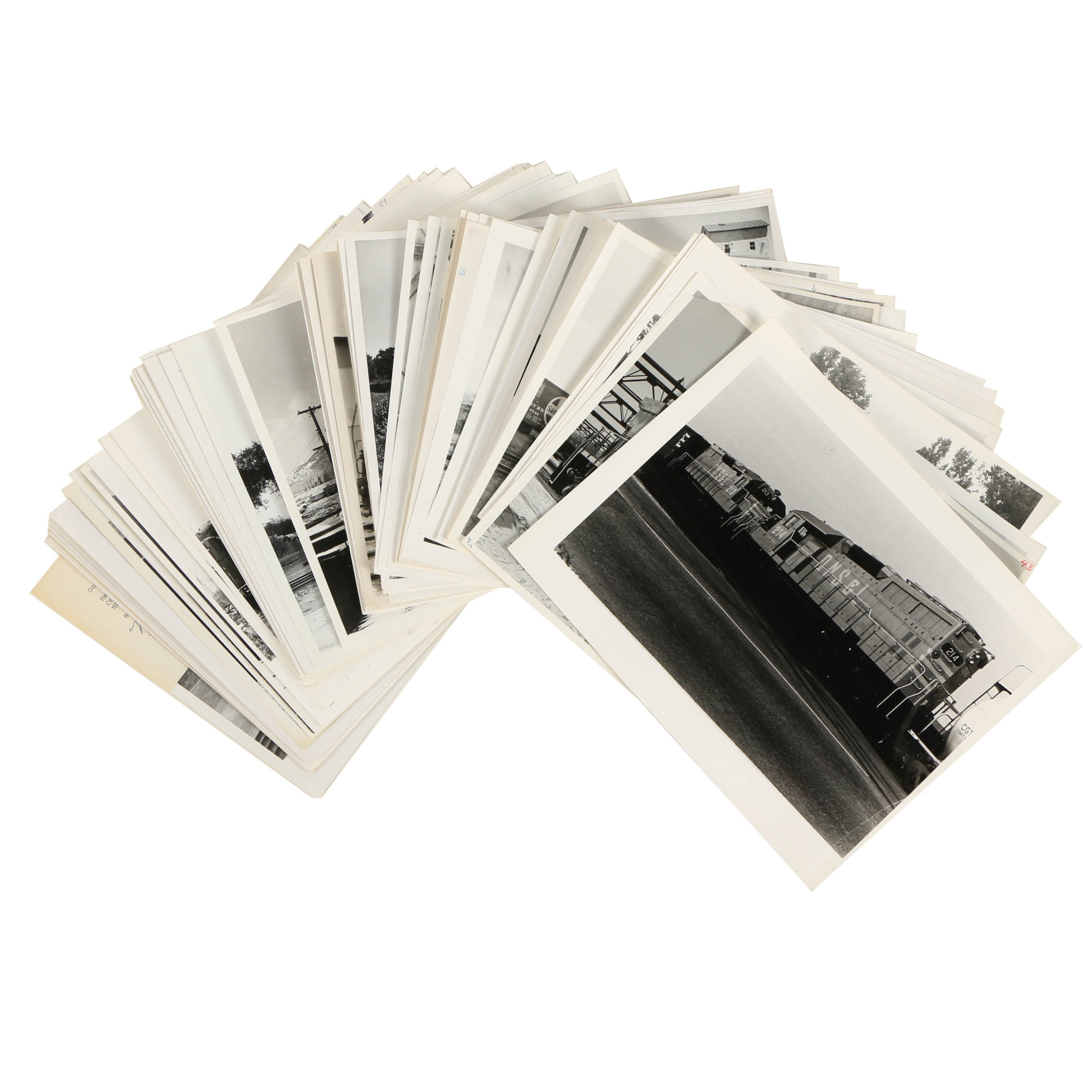 Assortment of 20th Century Black and White Photographs of Trains