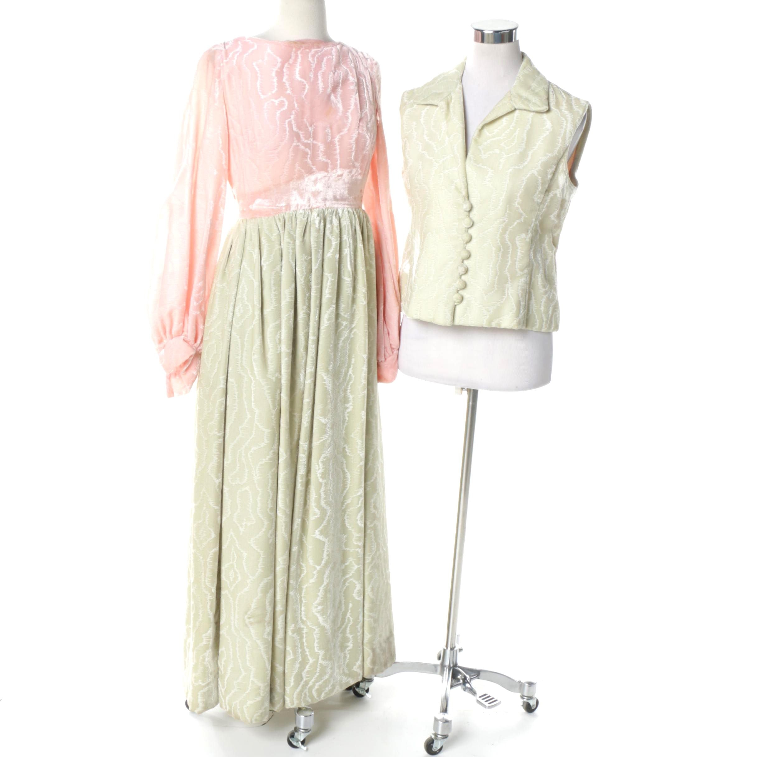 Women's Vintage Velvet Dress and Vest from Joan Leslie by Kasper