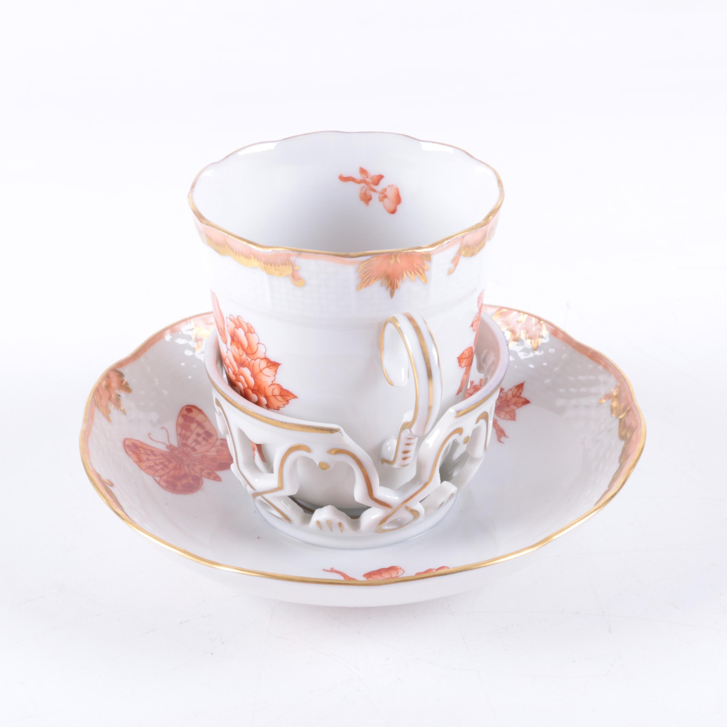 """Herend  """"Fortuna"""" Trembleuse Cup and Saucer"""