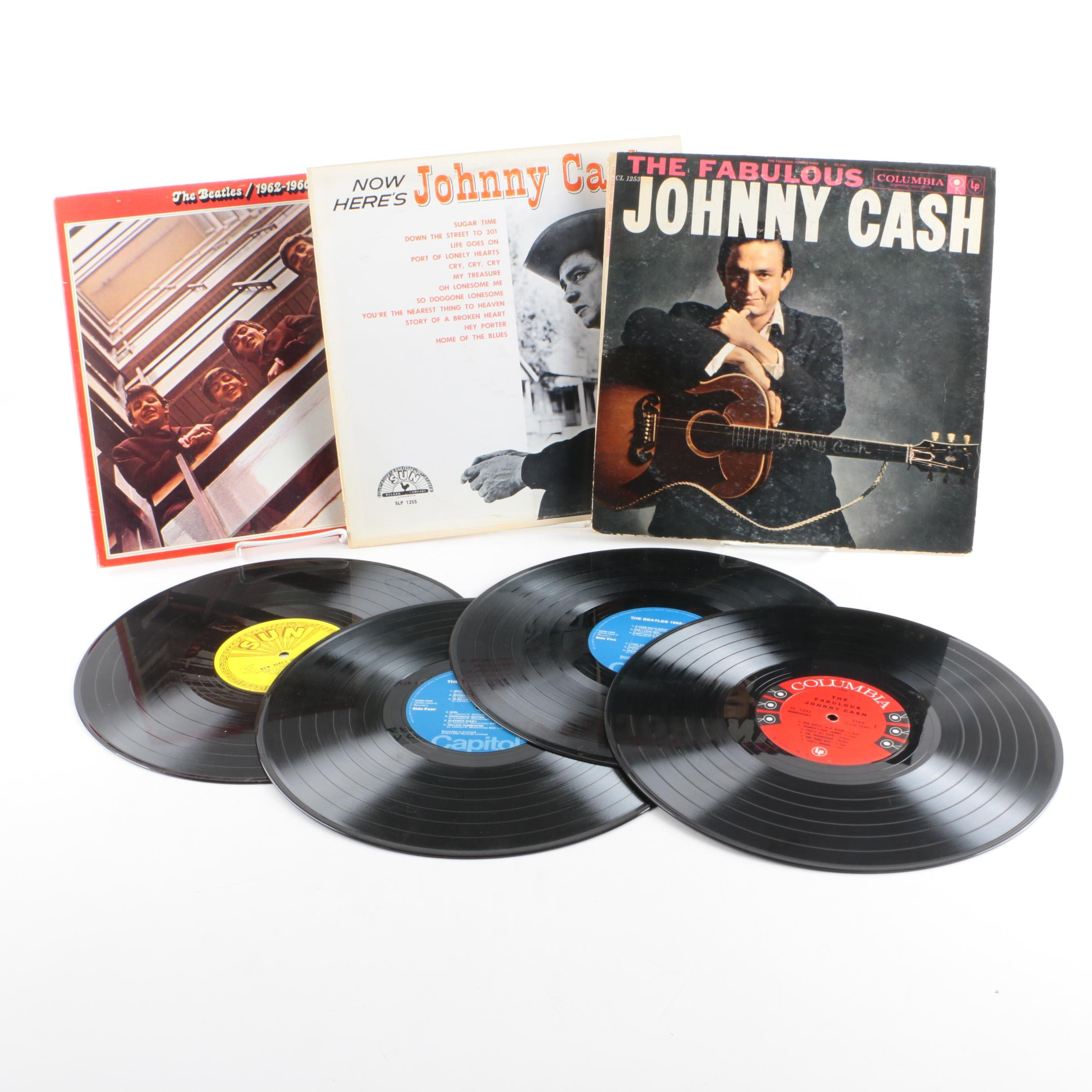 """Beatles """"1962-1966"""" """"Now Here's Johnny Cash"""" and """"Fabulous Johnny Cash"""" Records"""