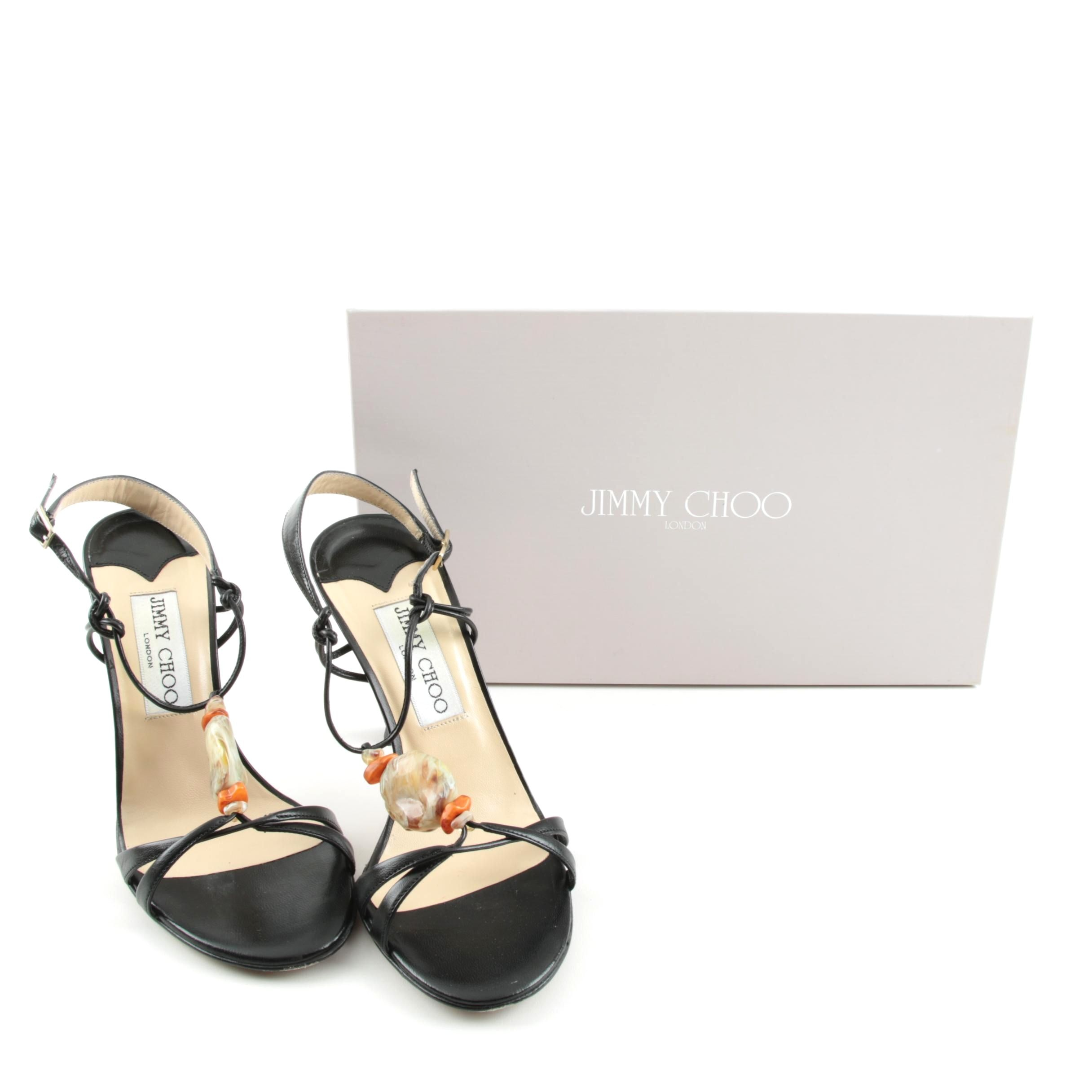 Jimmy Choo Black Leather and Poured Glass Stone Strappy Sandals