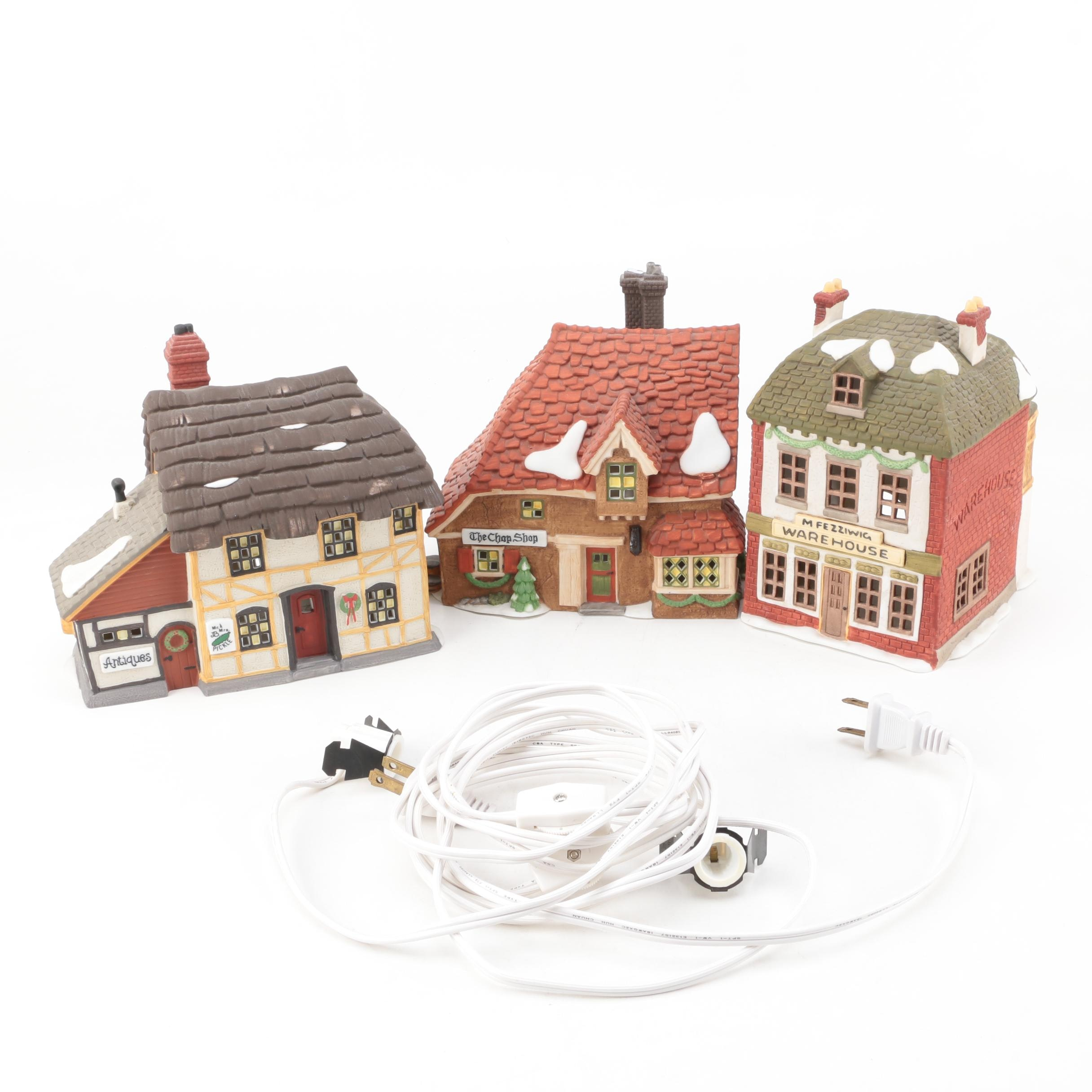 Department 56 Ceramic Dickens Village Houses and Light Cords