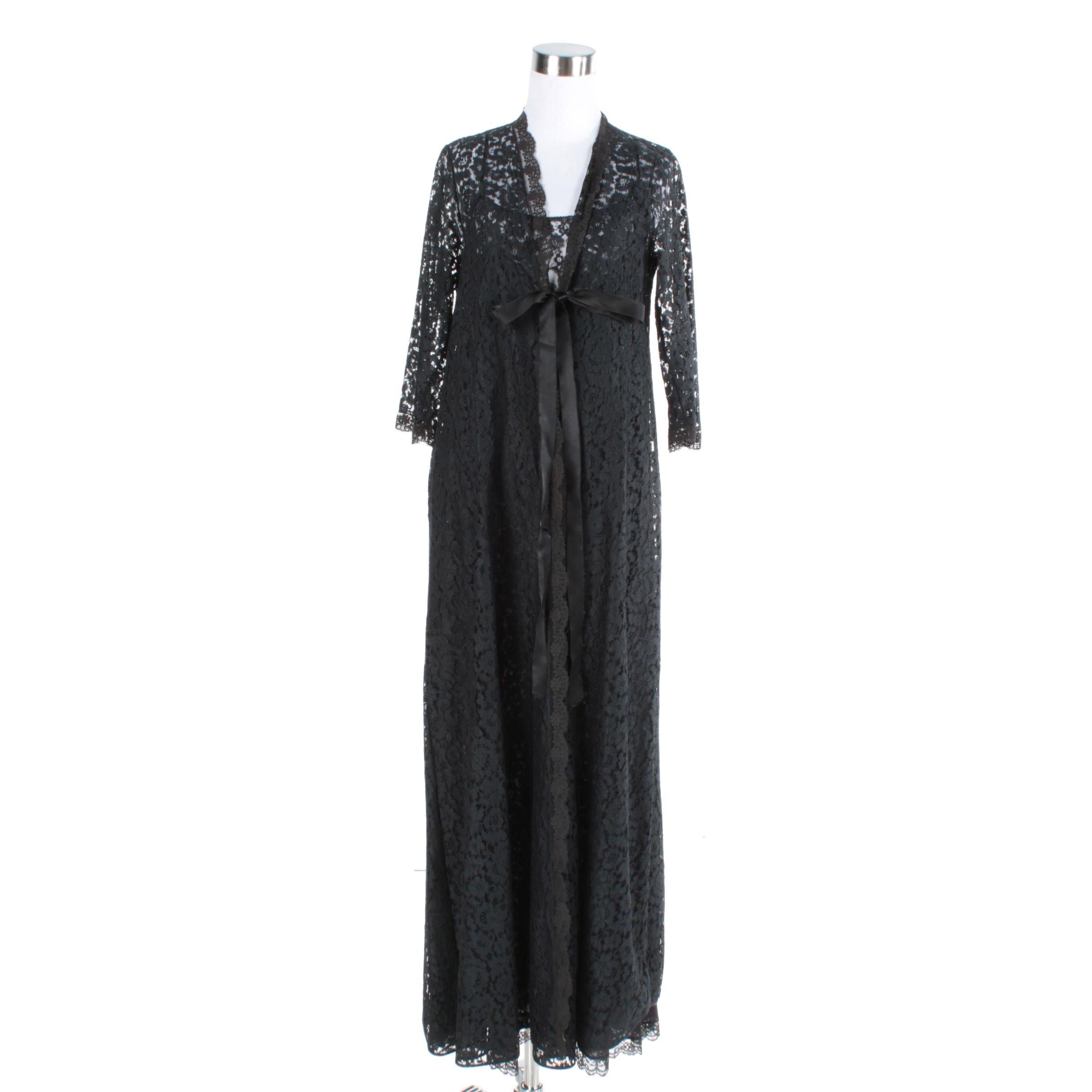1960s Lucie Ann Black Lace Peignoir