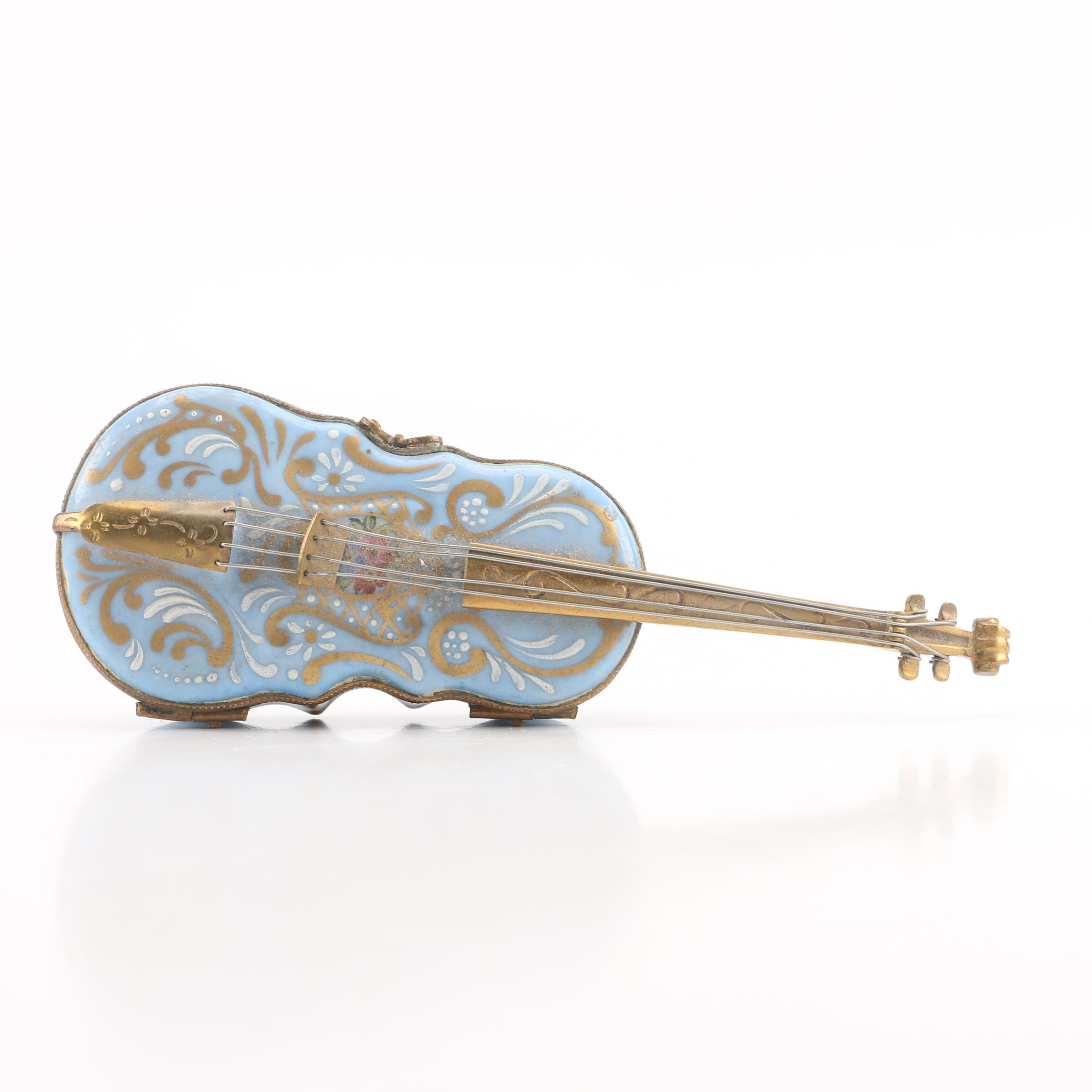 French Hand-Painted Porcelain Violin Trinket Box