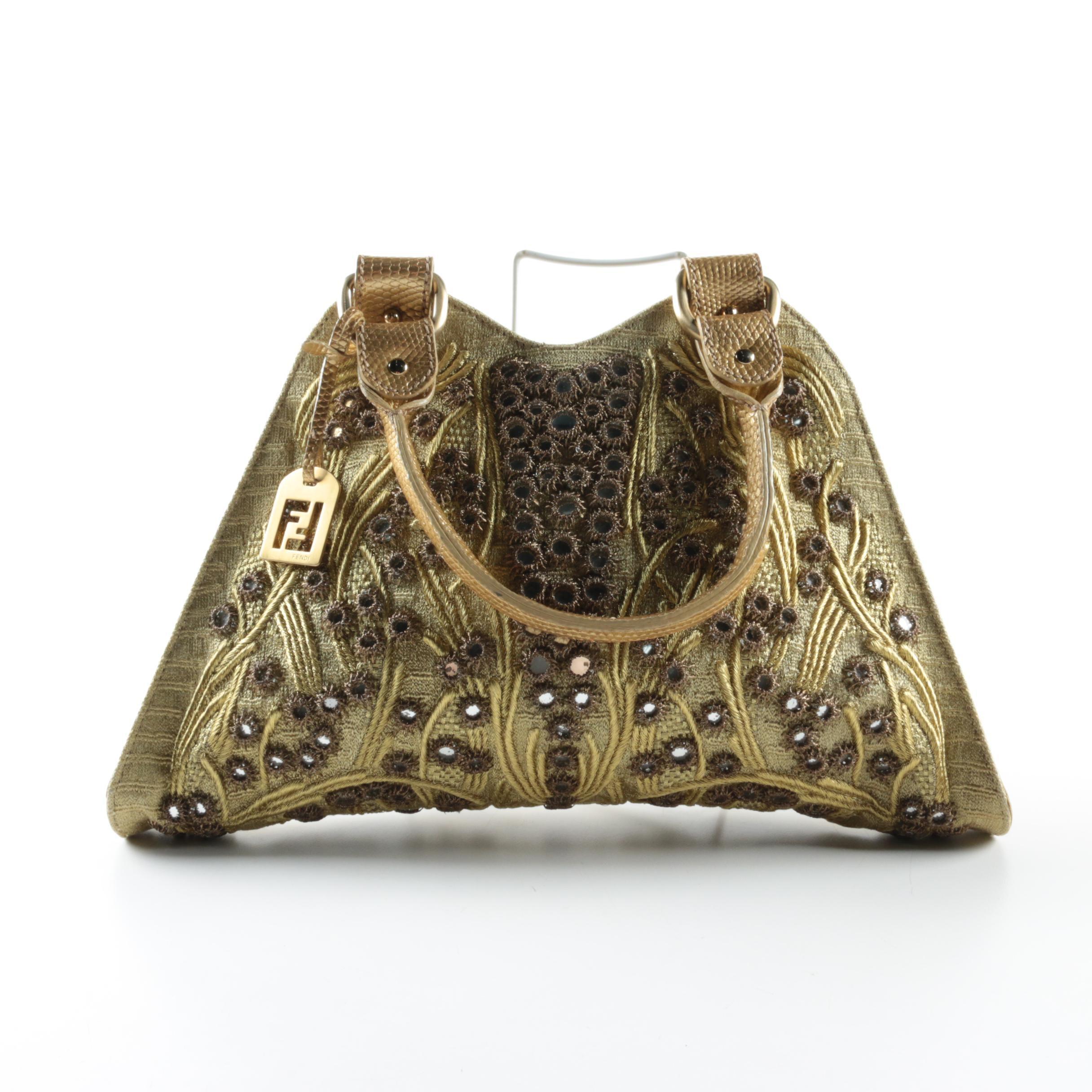 Fendi Shisha Embellished Lizard Skin Handbag