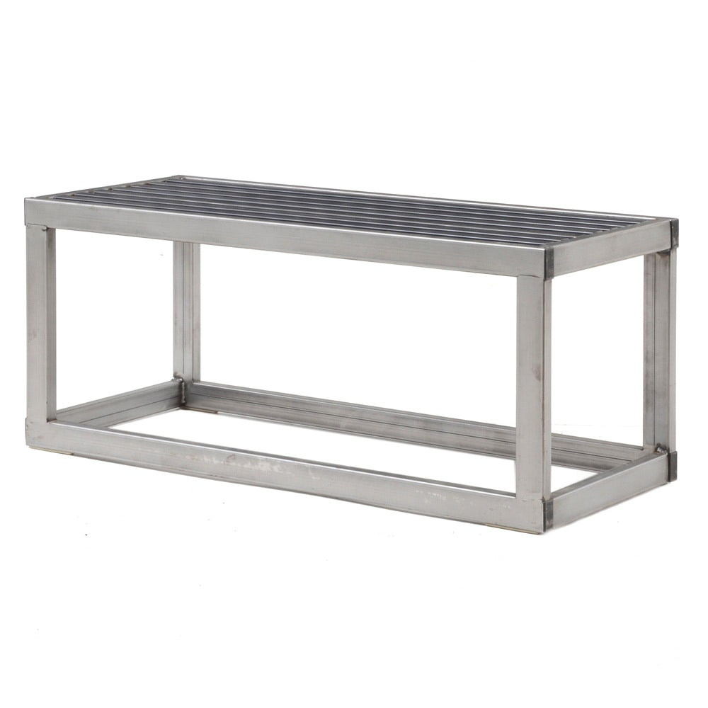 Mid Century Modern Metal Slat Bench