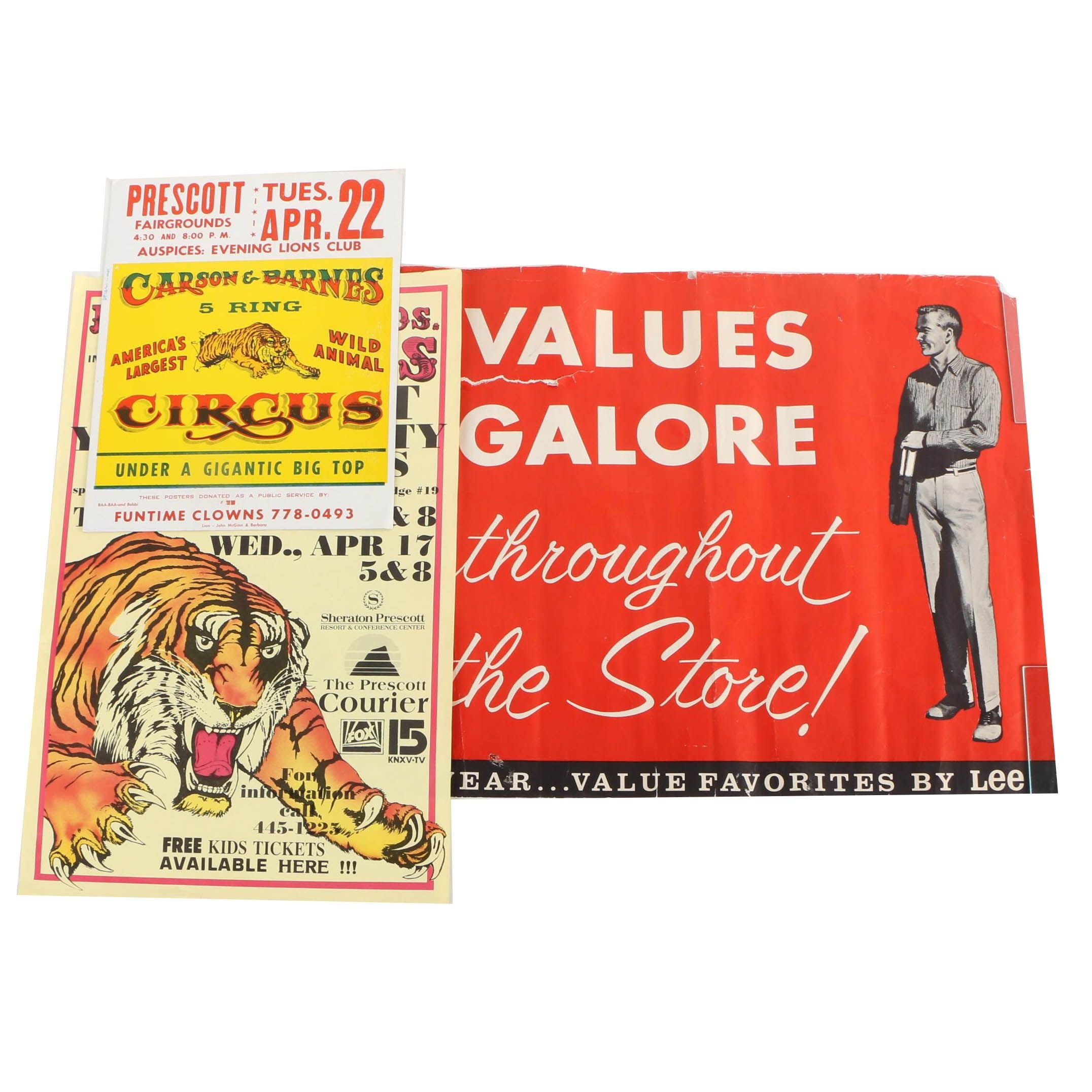 "Lee Circa 1950s ""Values Galore"" Retail Sign and Vintage Circus Posters"