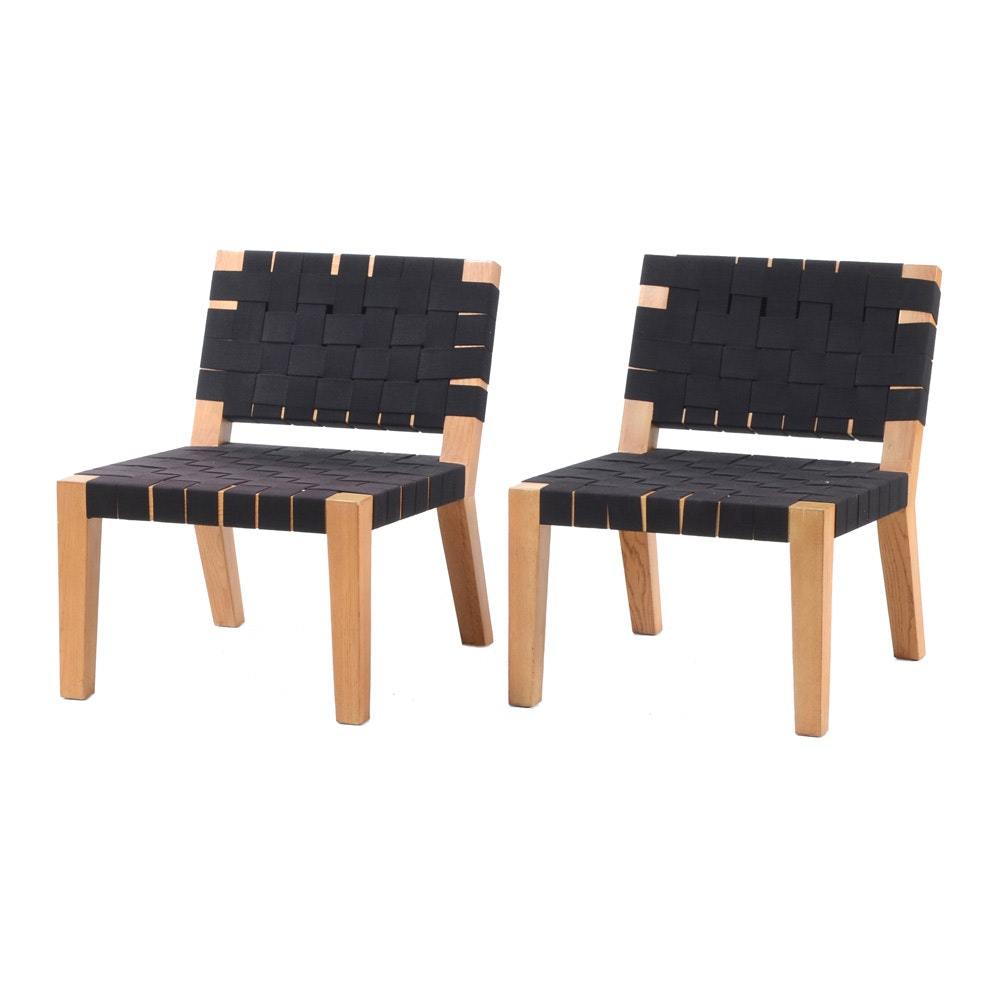 Pair of Mid Century Modern Woven Lounge Chairs