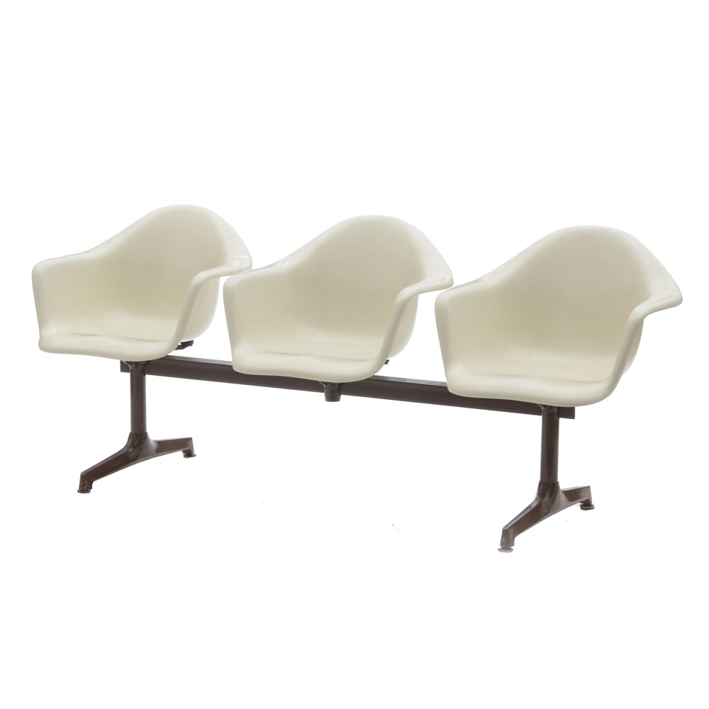 Mid Century Modern Indoor Bench with Shell Seats by Techfab