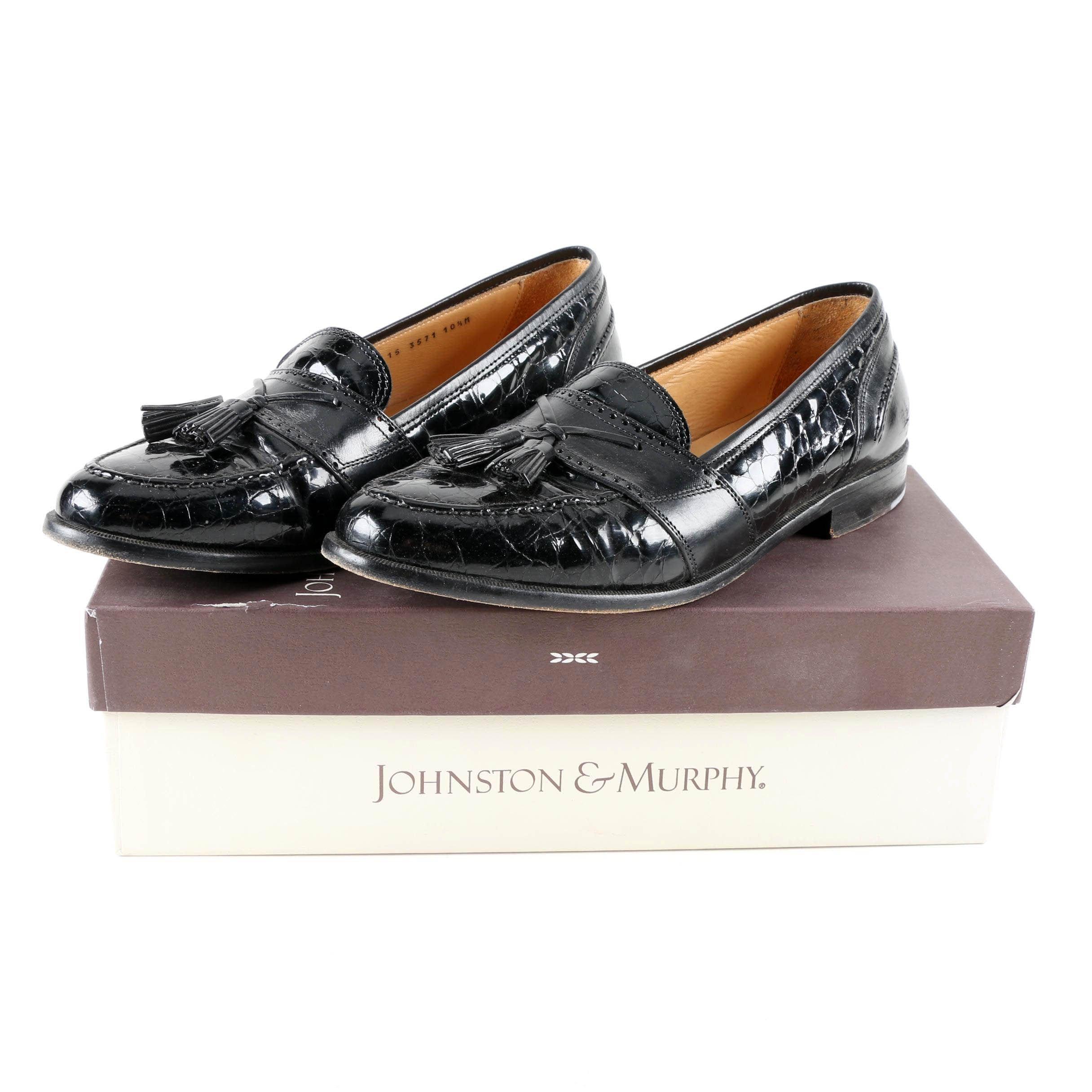 Men's Johnston & Murphy Black Leather Tasseled Loafers