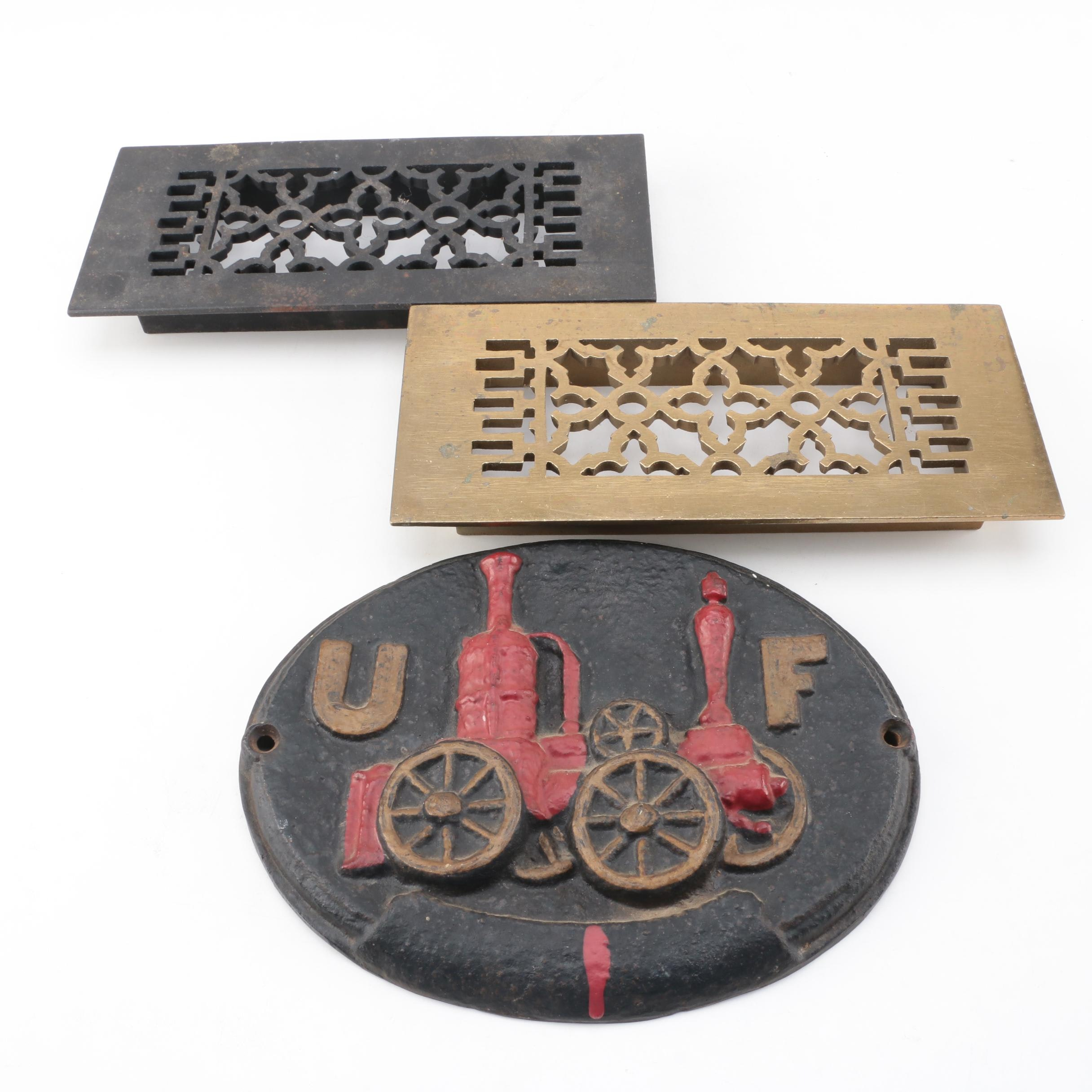 Vintage Return Grates and Cast Iron Wall Decor