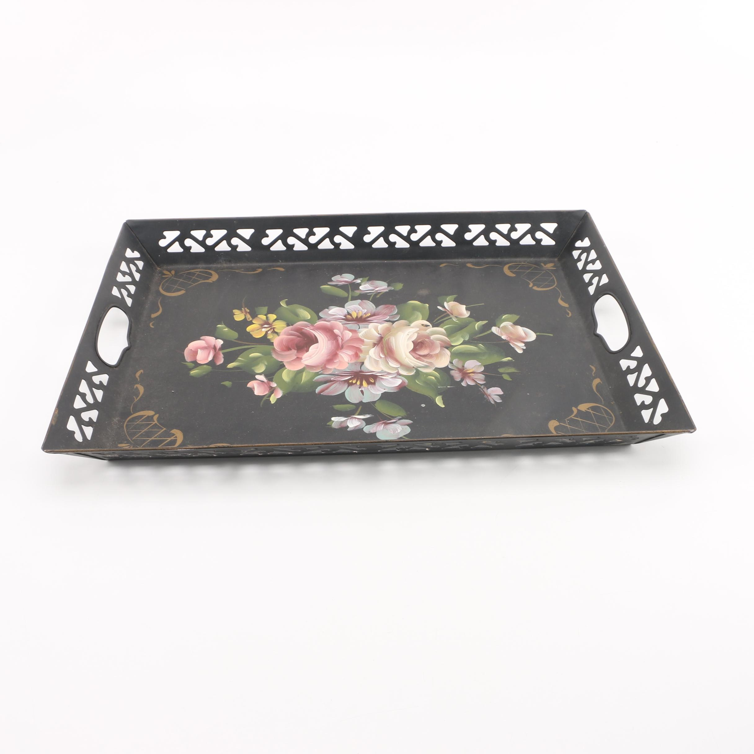 Black Metal Tole Tray with Cut-Outs