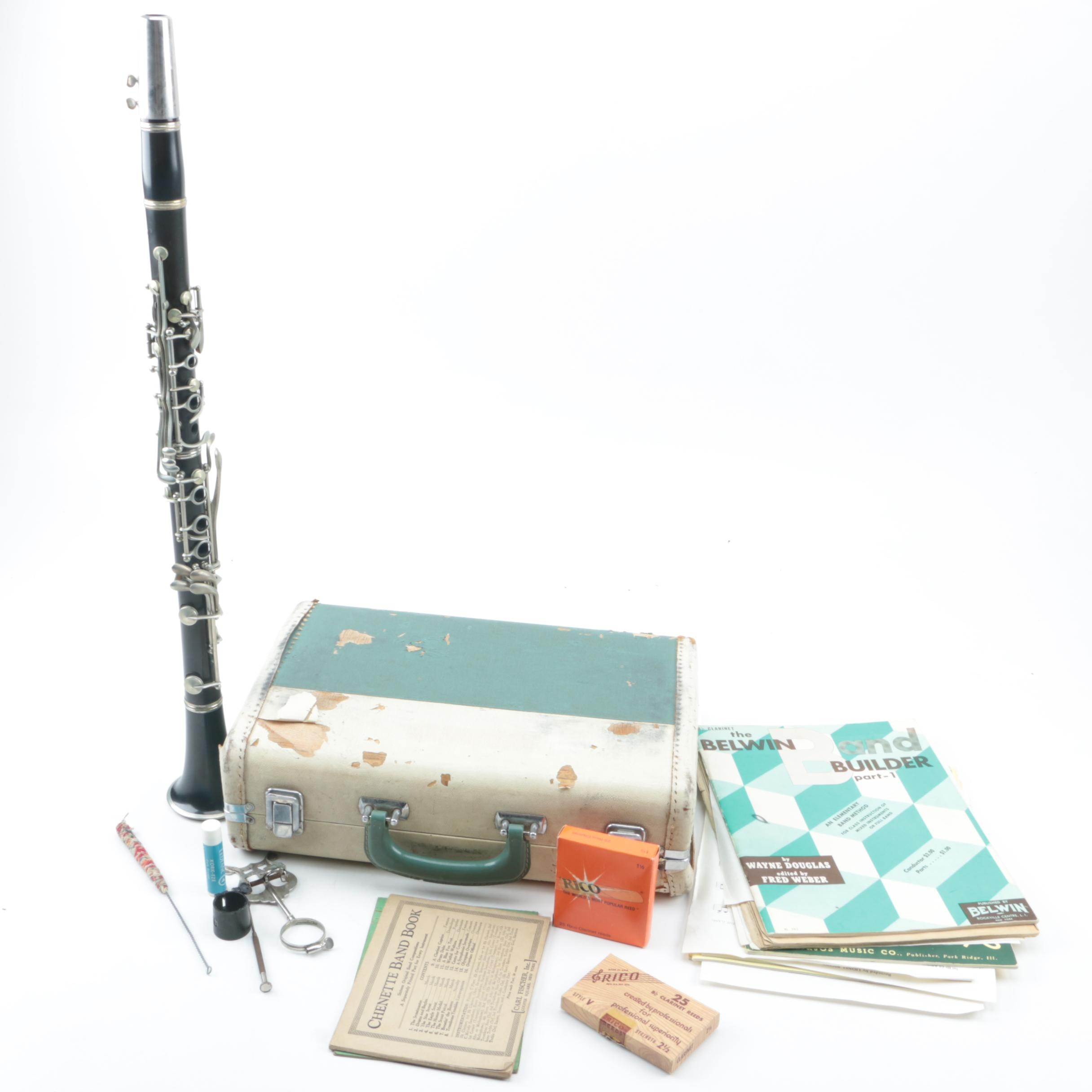 Vintage Conn Clarinet With Case and Accessories