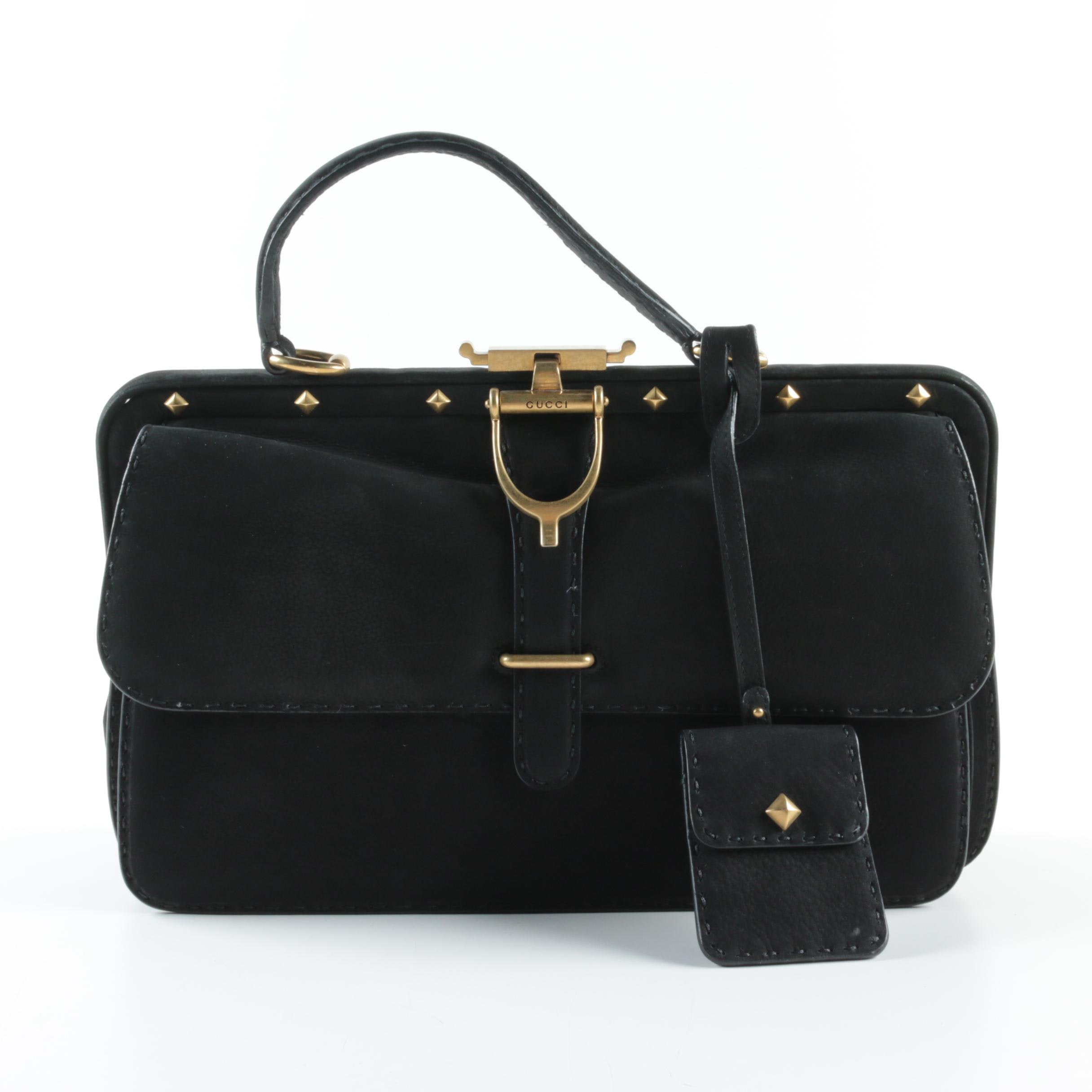 Gucci Black Suede Lady Stirrup Handbag