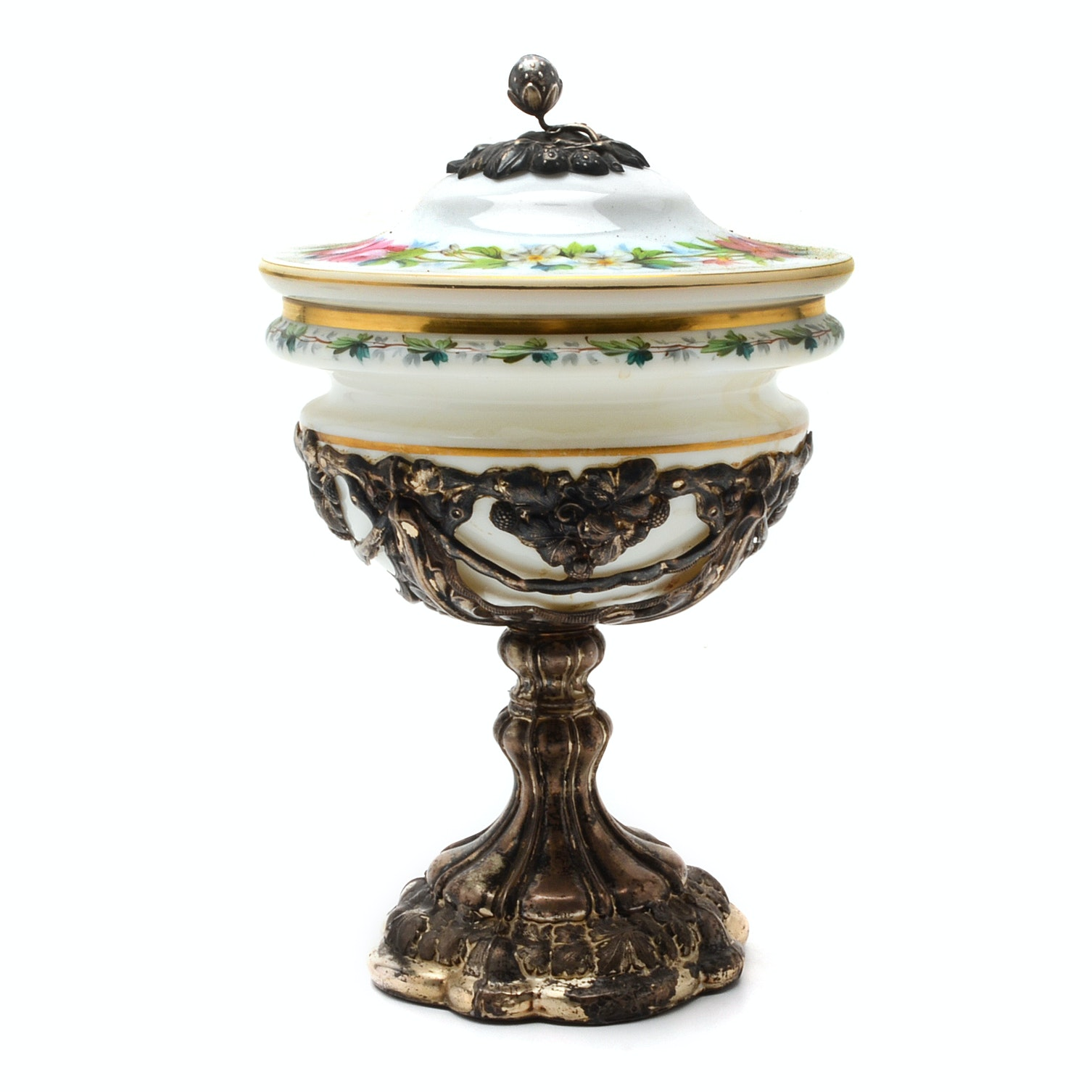 Painted Glass Compote on Footed 800 Silver Base
